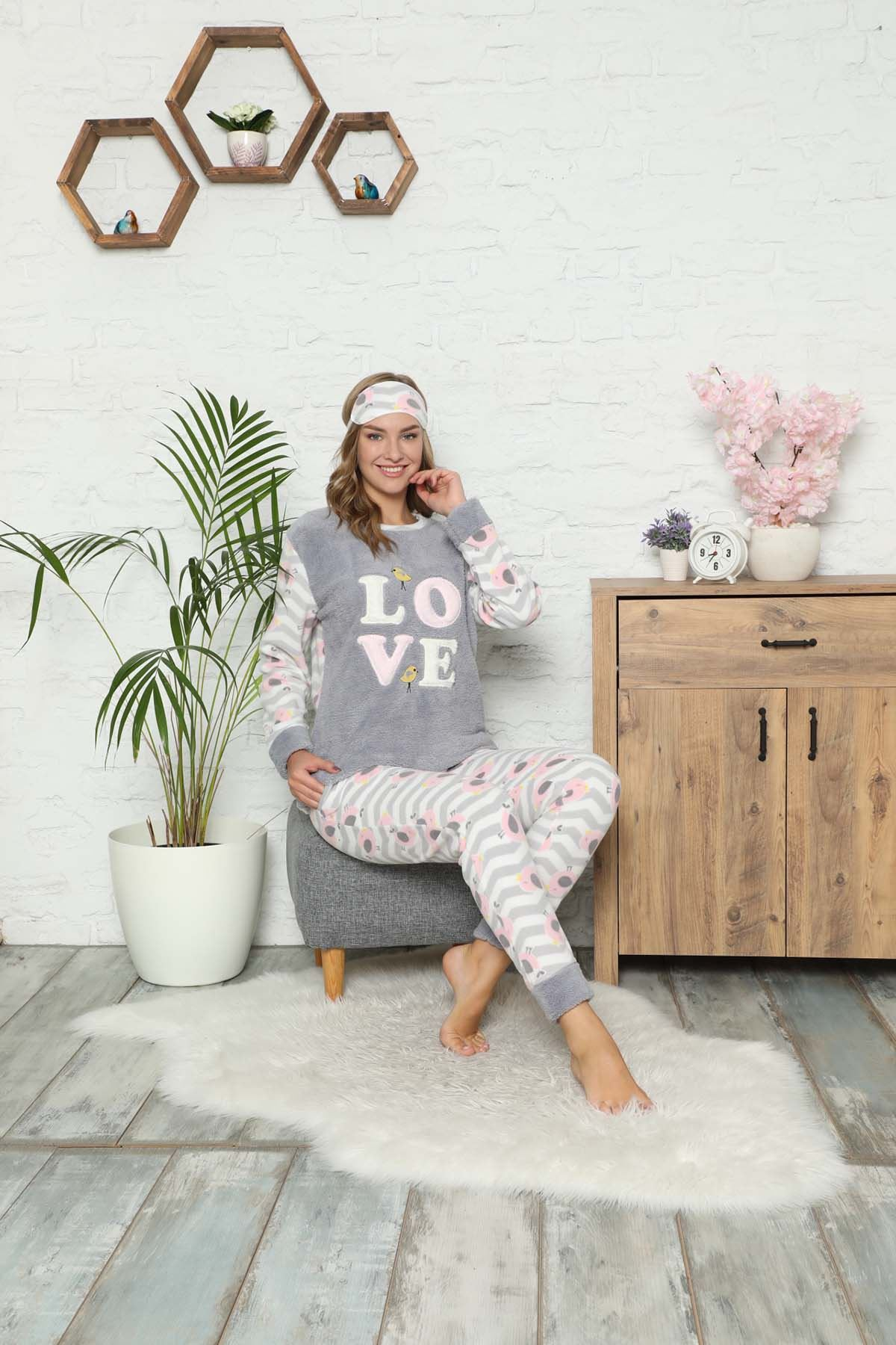 Gri Welsoft Polar Pijama 14C-9059