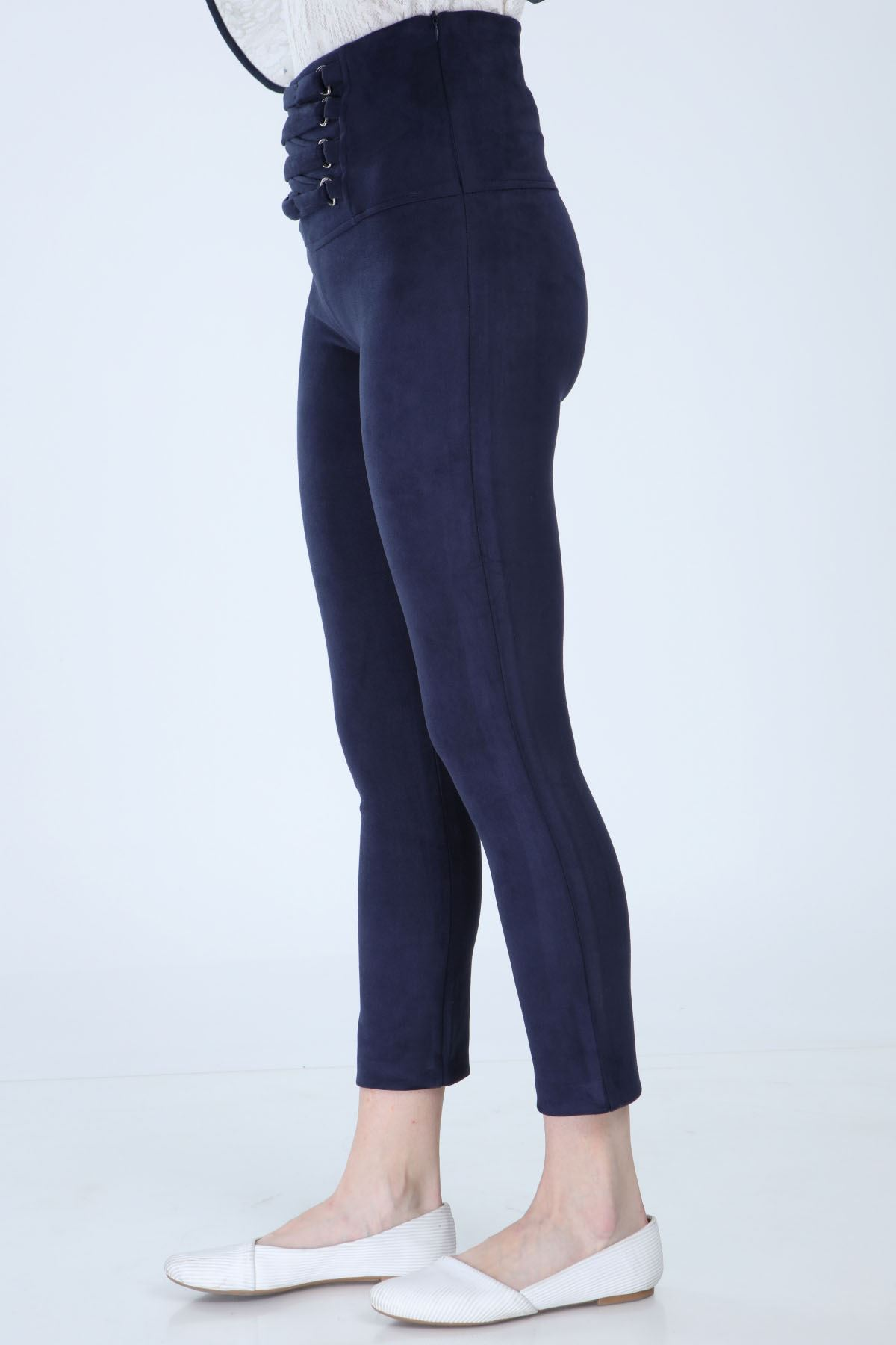 Lacivert Likralı Süet Pantolon 3C-1001
