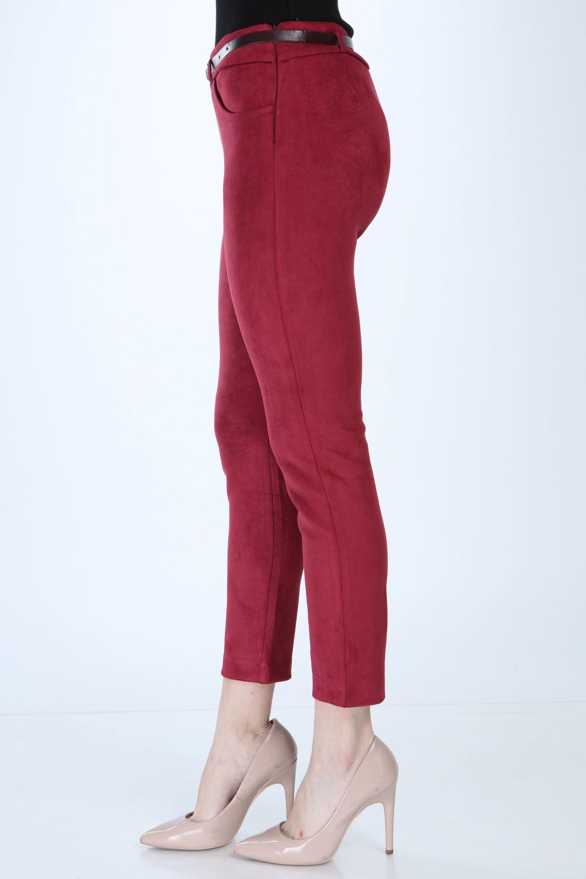 Kadın Bordo Süet Kemerli Pantolon 4C-1009