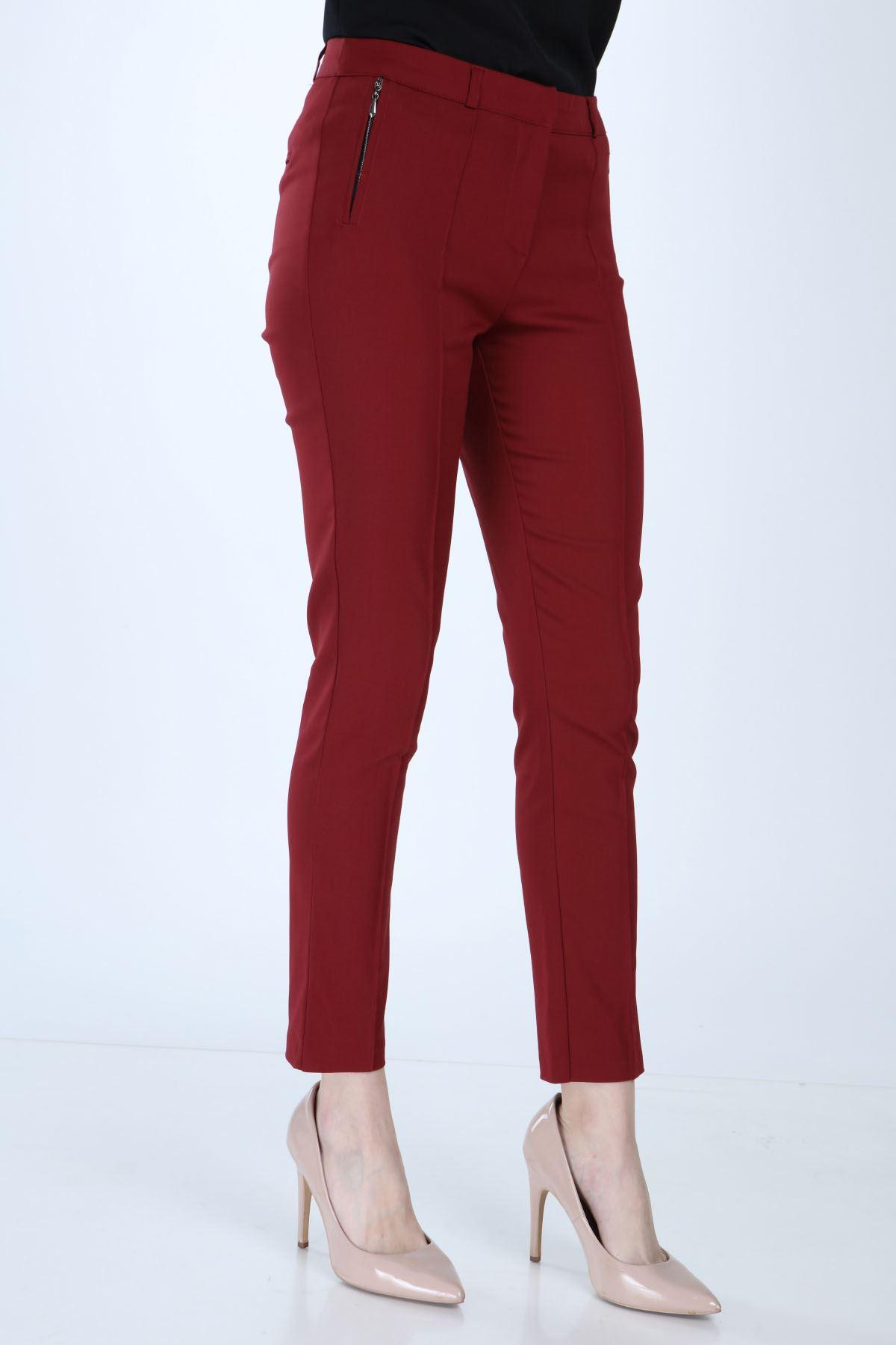 Kadın Bordo Cepli Kumaş Pantolon 2D-1006