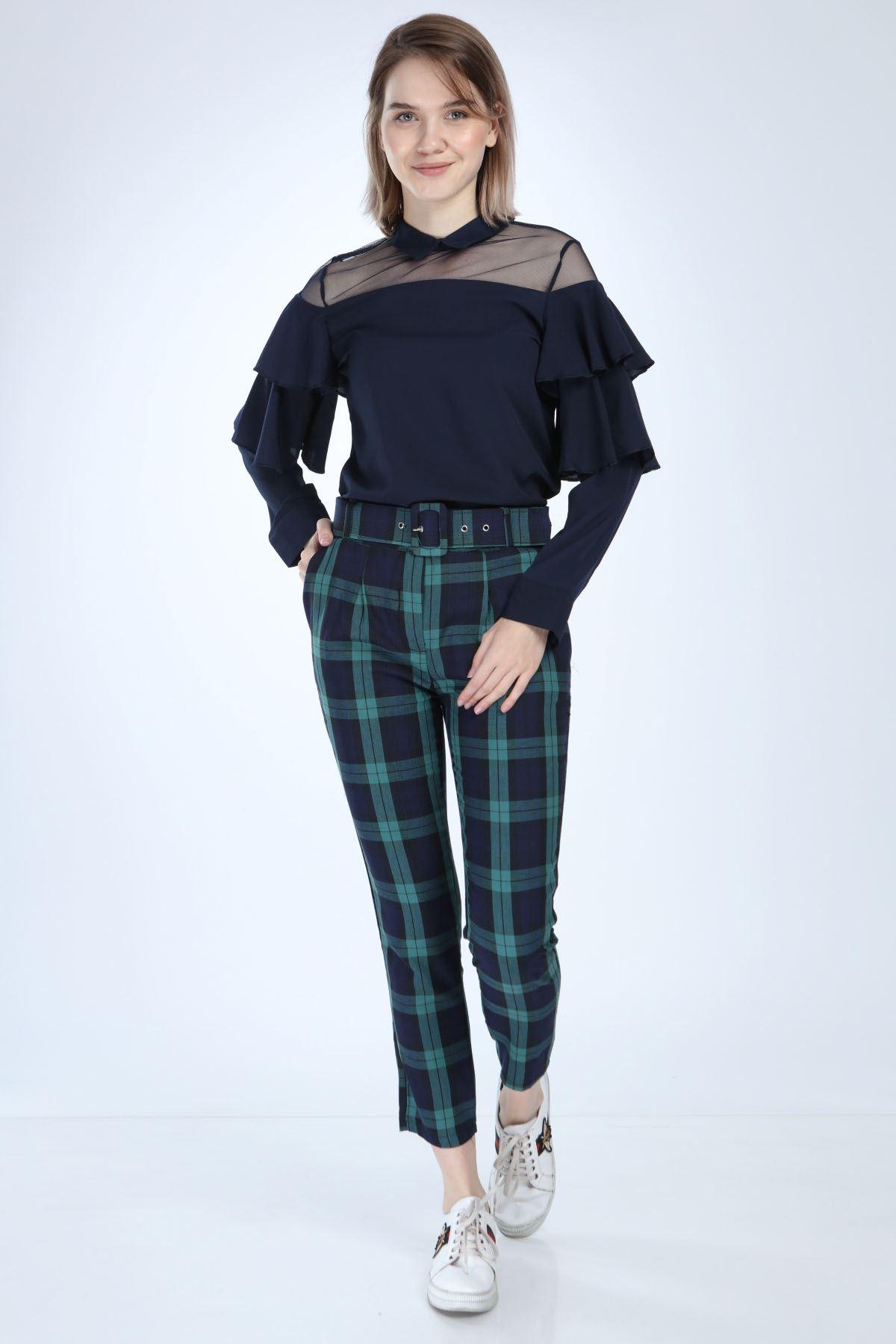 Ekose Desenli Kemerli Kadın Pantolon 1D-1008