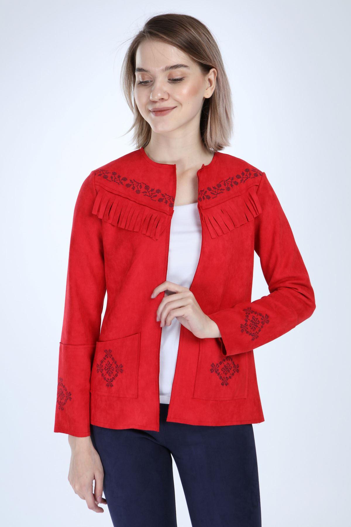 Kırmızı Süet Ceket 12C-1019