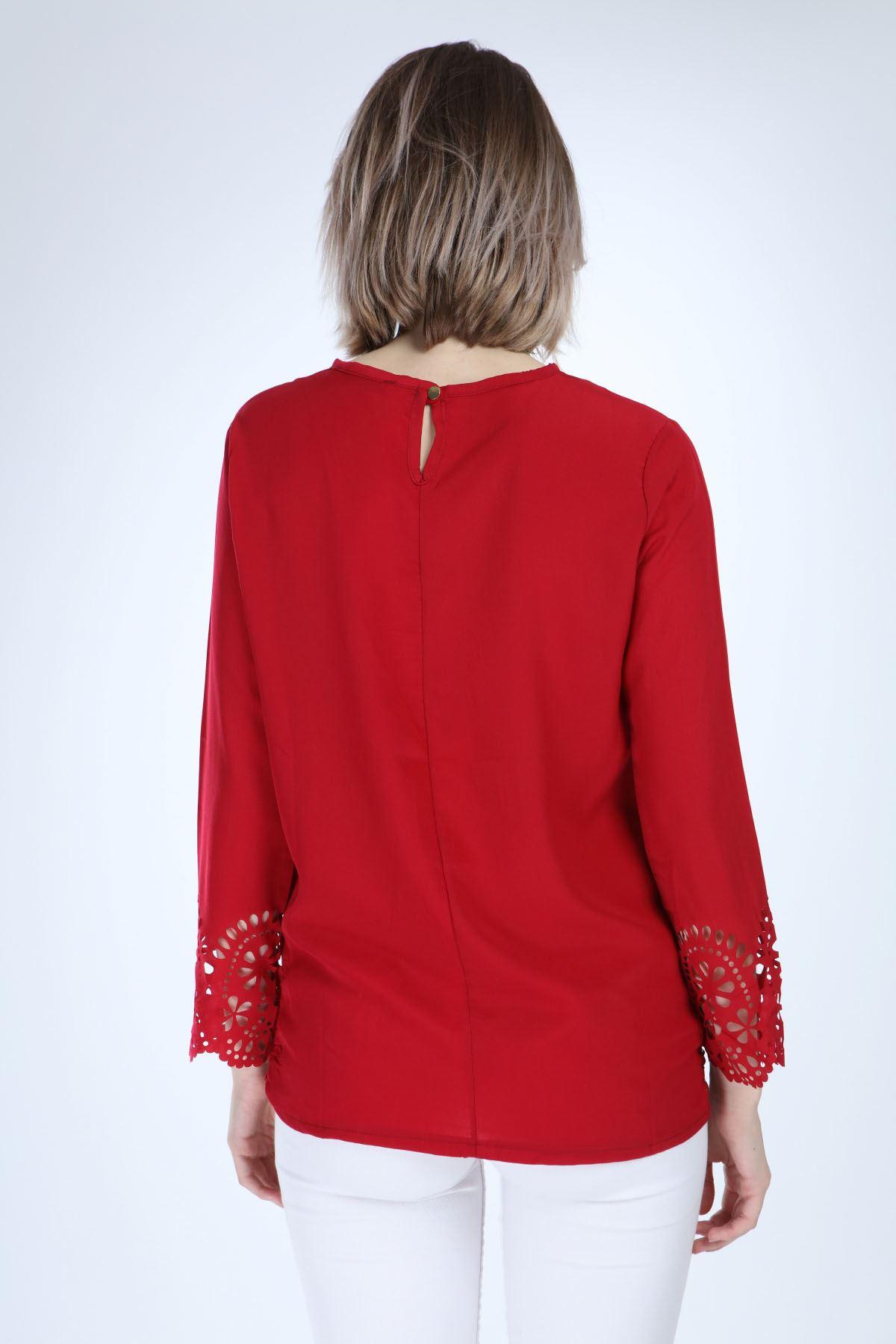 Kırmızı Oymalı Bluz 14C-1025