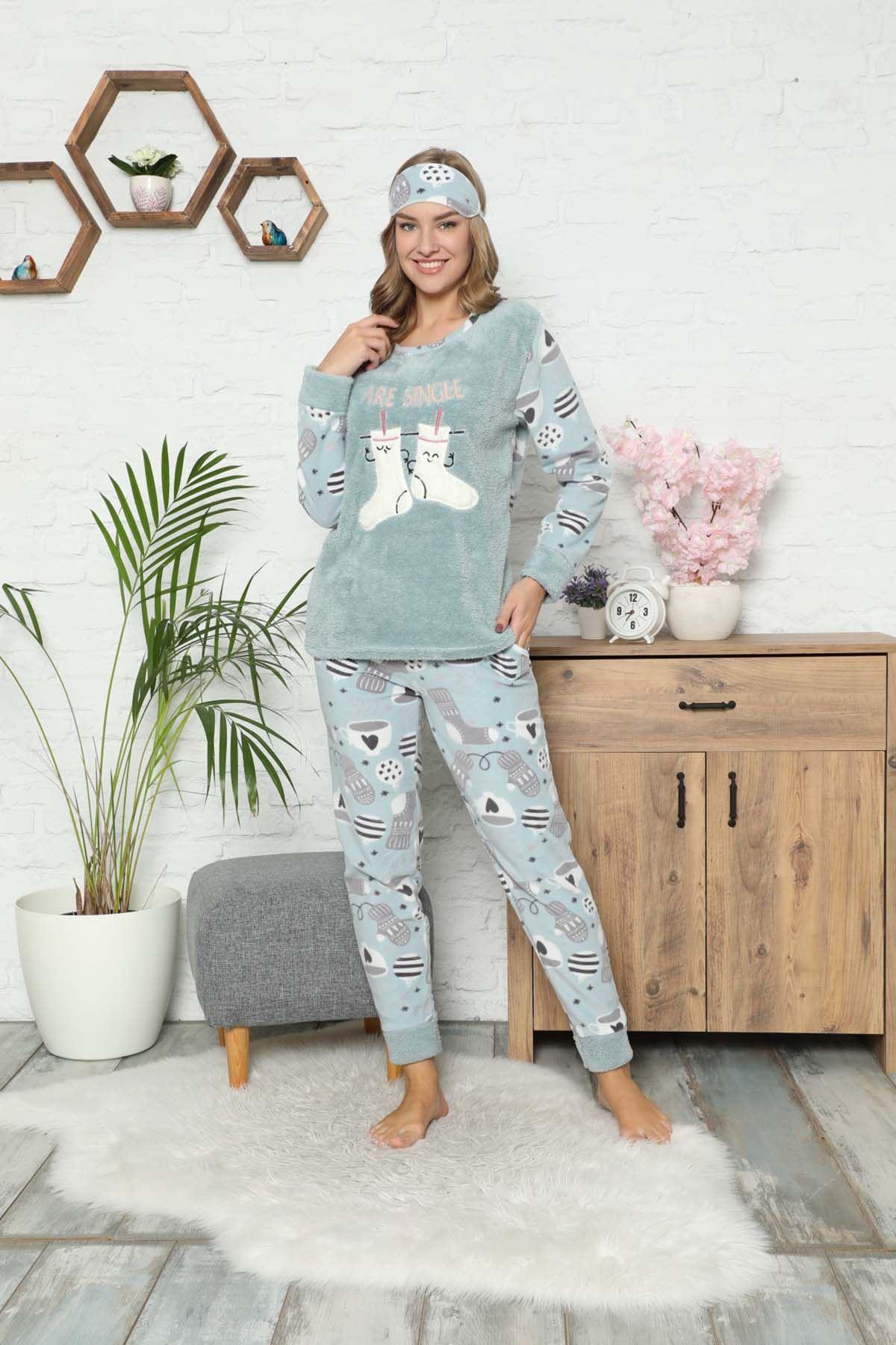 Mint Yeşil Welsoft Polar Pijama 14D-9058