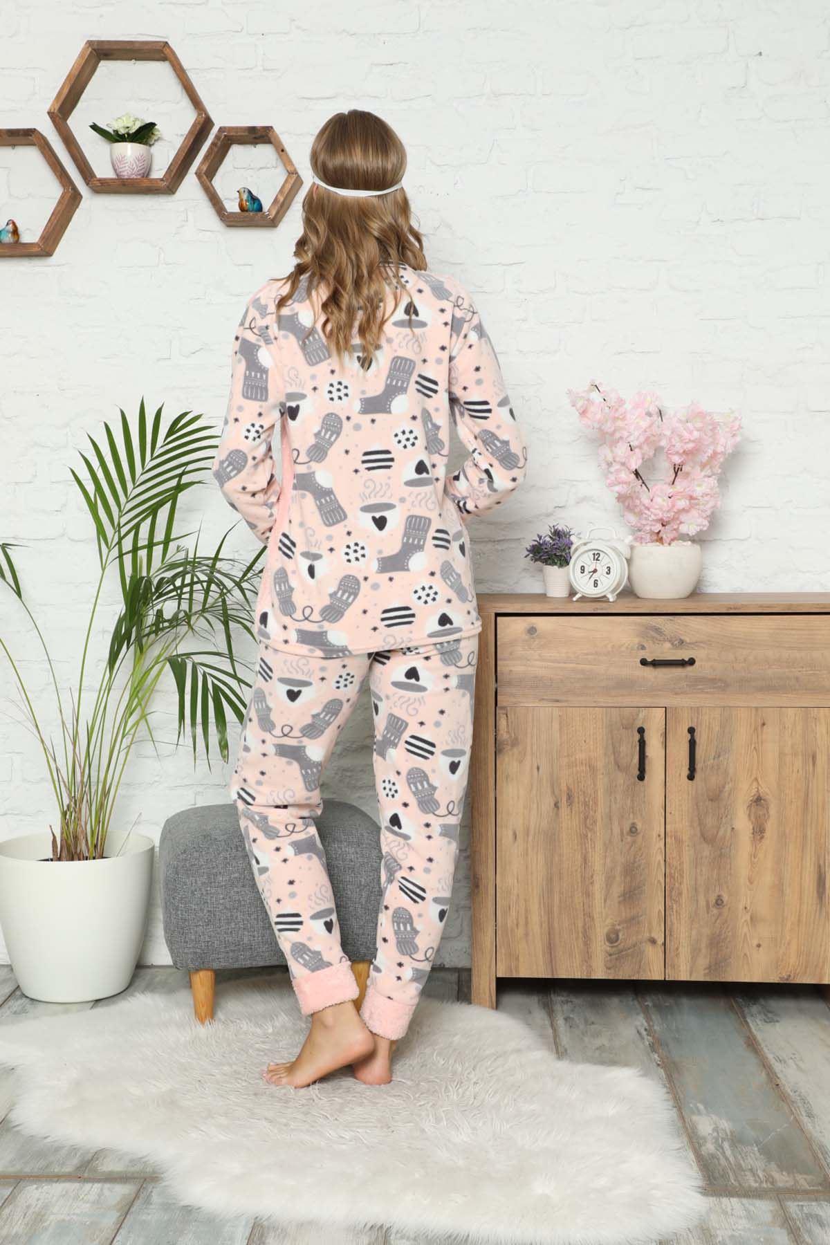 Pembe  Peluş Polar Pijama 13C-9058