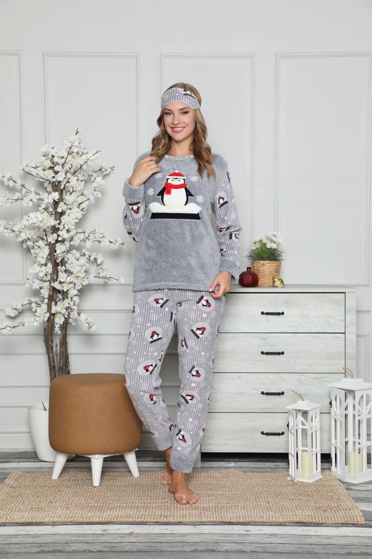 Gri Peluş Polar Pijama 14D-9047