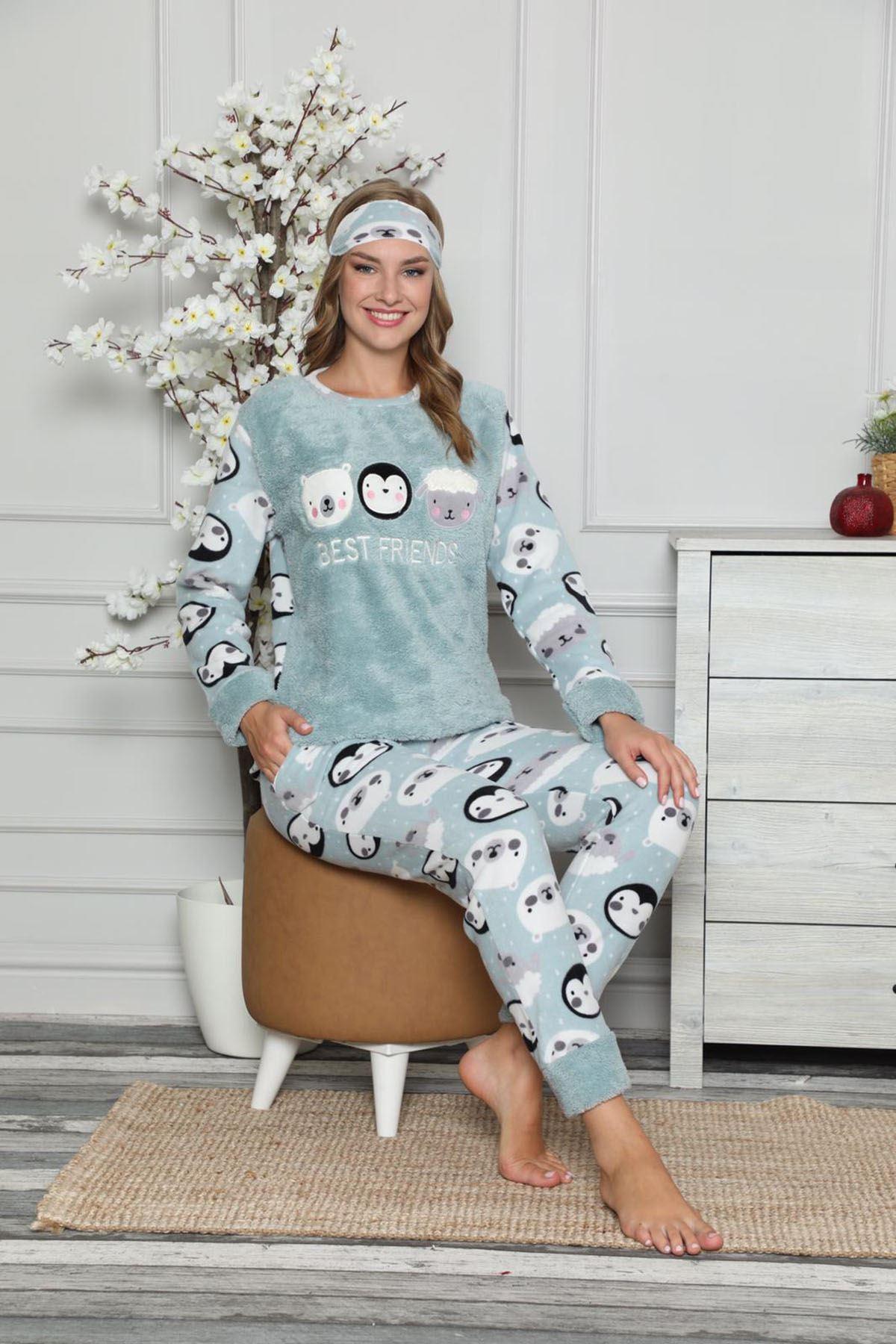 Mint Yeşil Peluş Polar Pijama 14E-9048