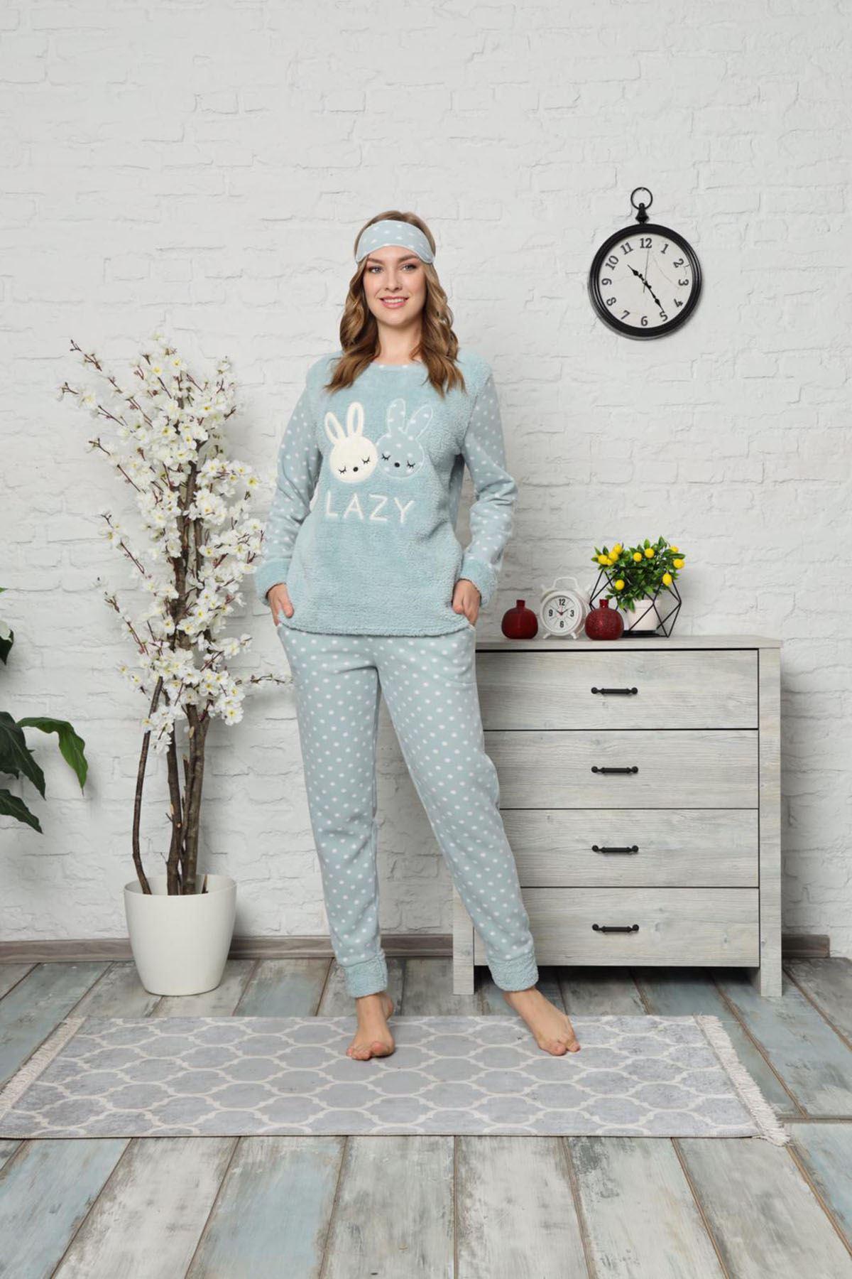 Mint Yeşil Peluş Polar Pijama 13C-9000