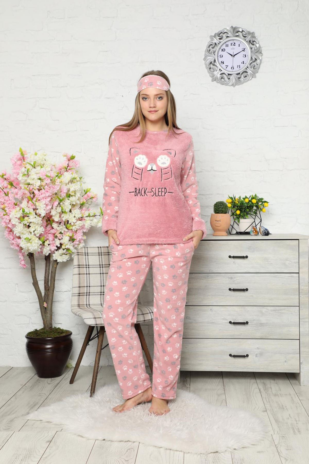 Pembe Welsoft Polar Pijama 14E-9027