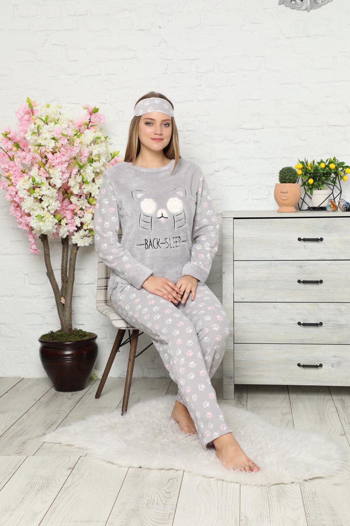 Gri Peluş Polar Pijama 13C-9027