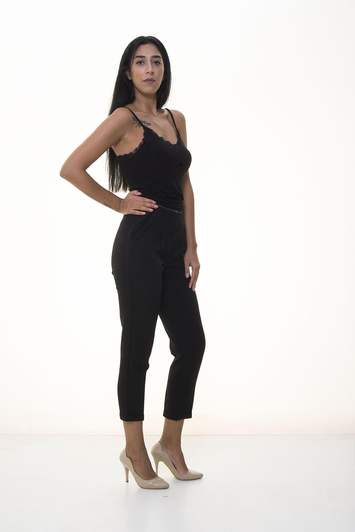 Siyah Double Paça Pantolon 7C-1064
