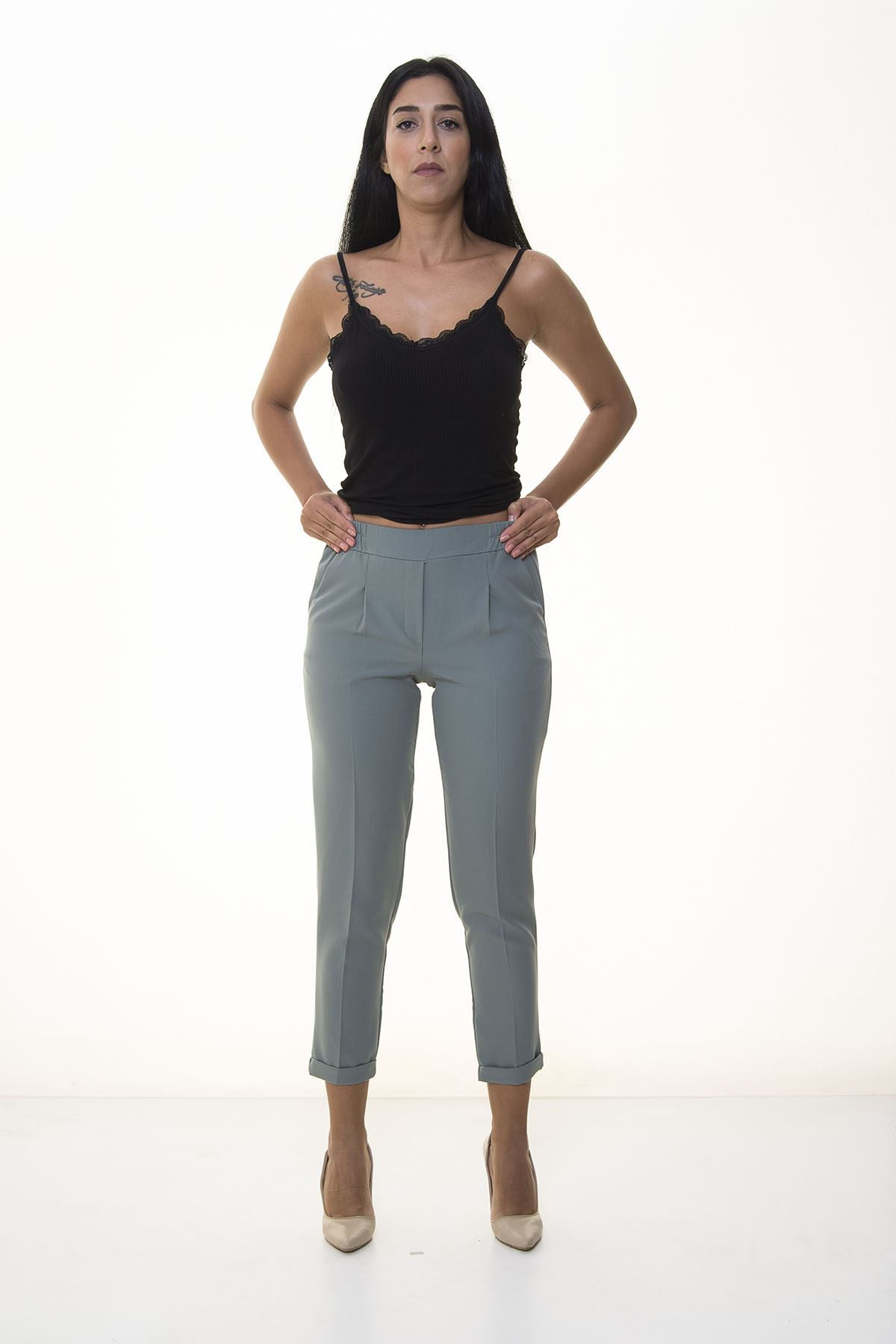 Kadın Mint Double Paça Pantolon 7C-1062