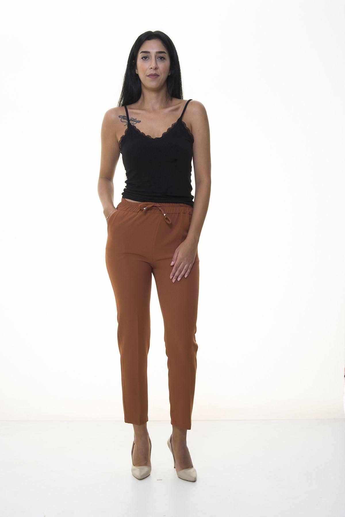 Kiremit Rengi Beli Lastikli  Pantolon 6D-1055