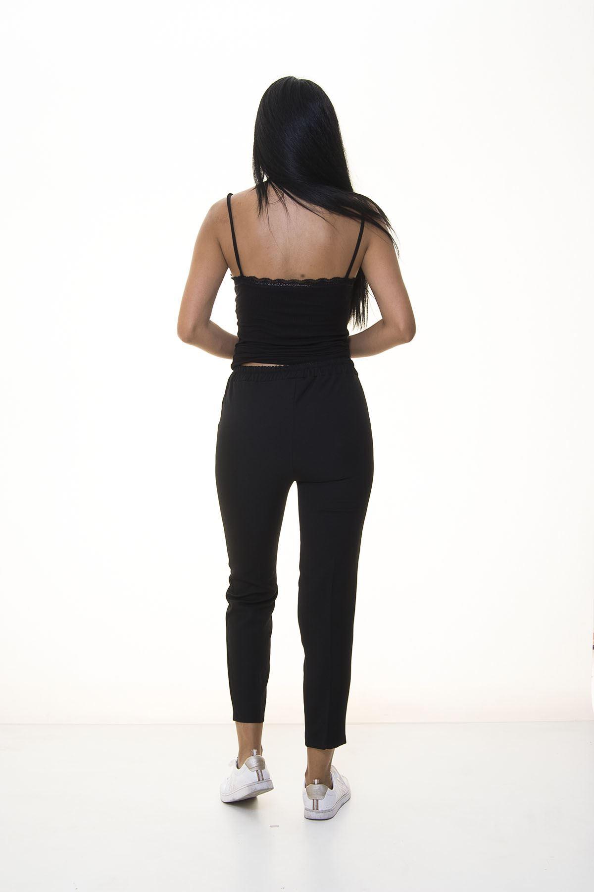 Siyah Beli Lastikli  Pantolon 6D-1053