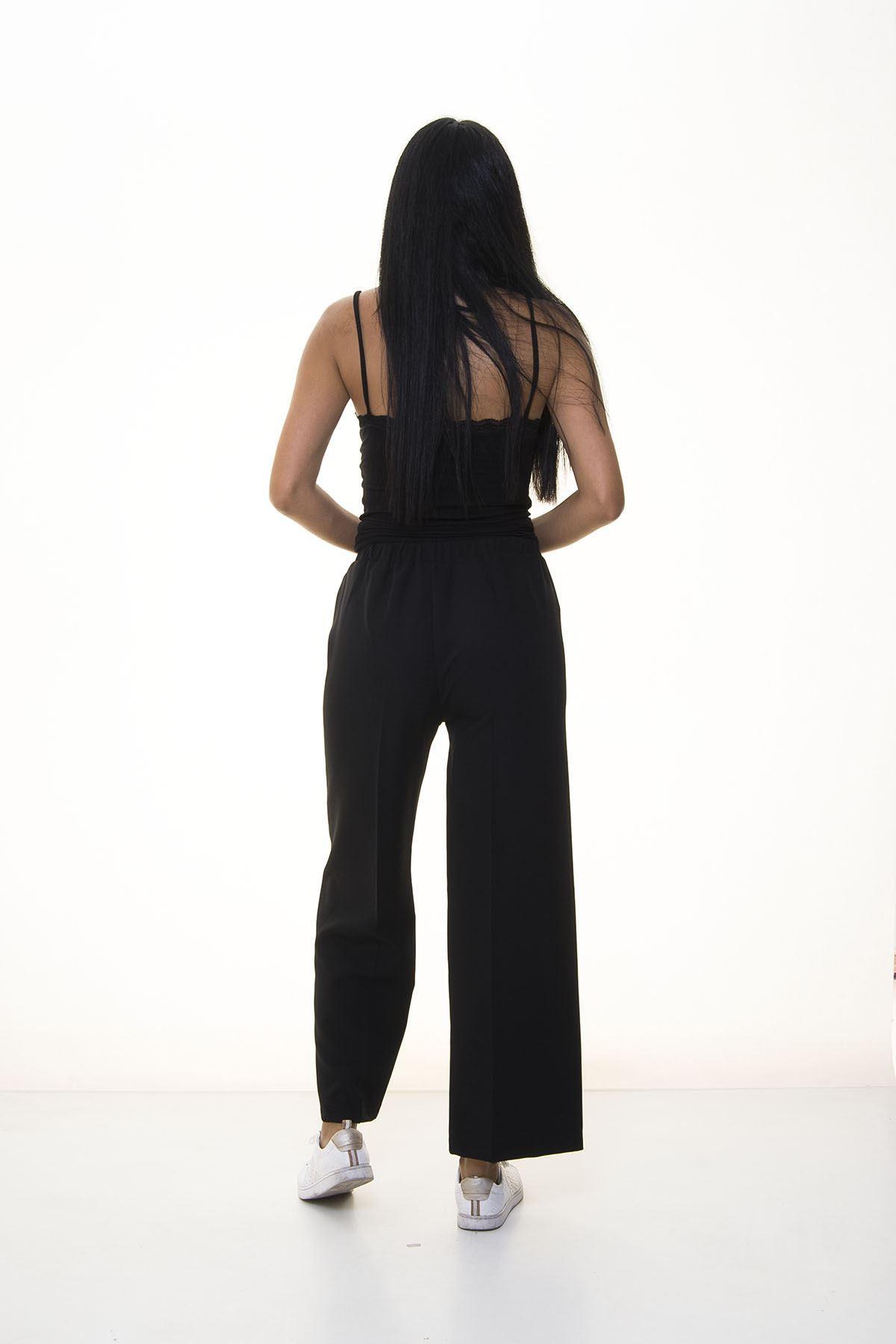 Siyah Beli Lastikli Bol  Pantolon 6D-1052