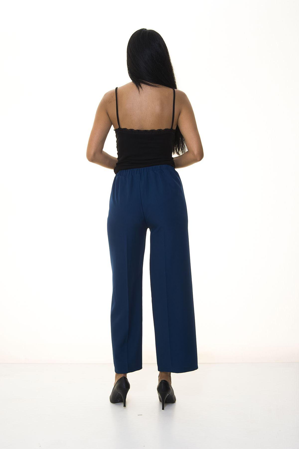 Kadın Mavi Beli Lastikli Bol  Pantolon 6D-1049