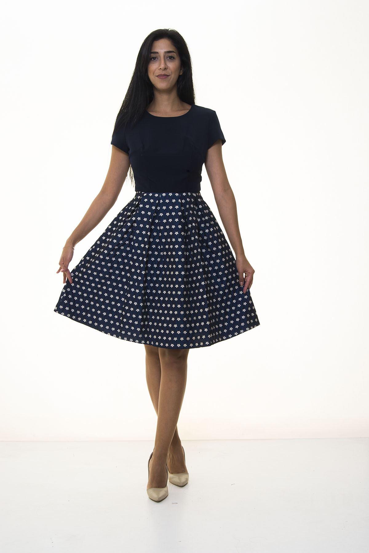Lacivert Çiçek Desenli Elbise 11D-1029