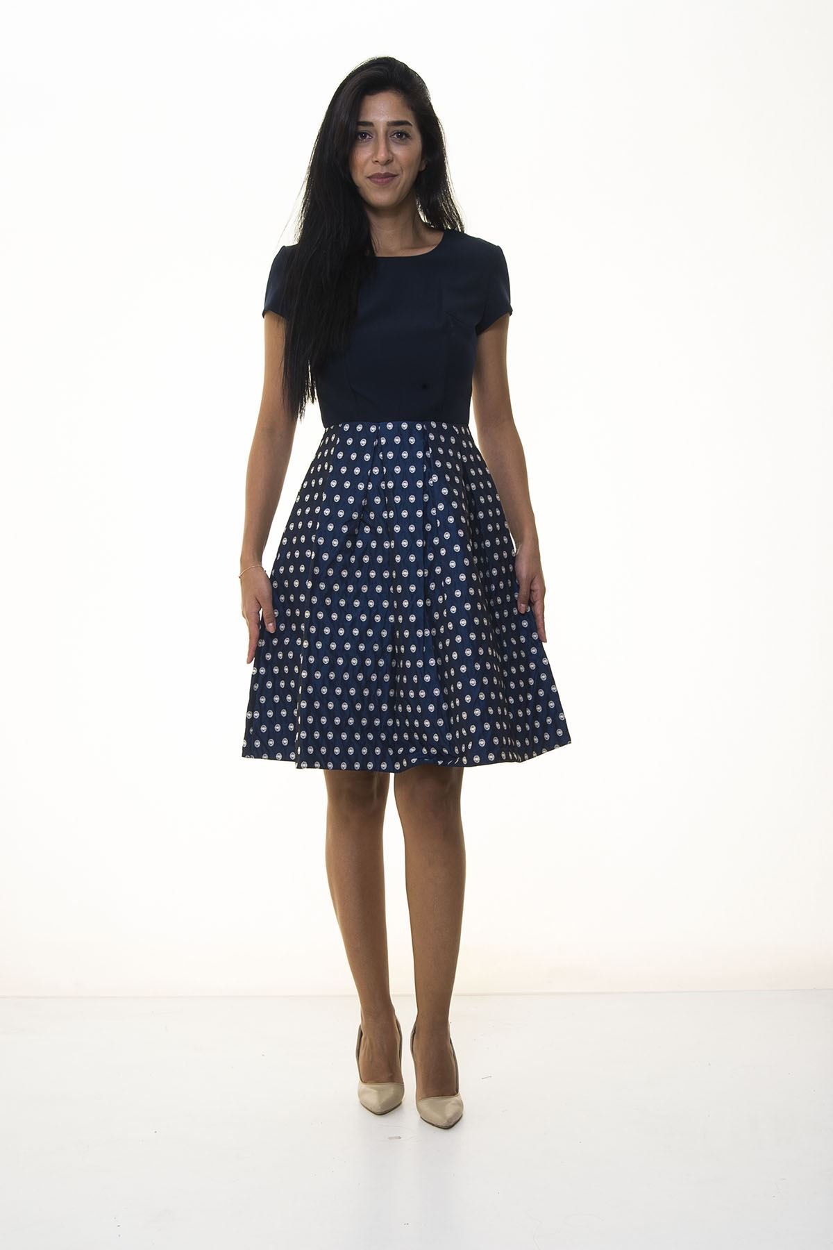 Lacivert Eteği Puantiyeli Elbise 11E-1030