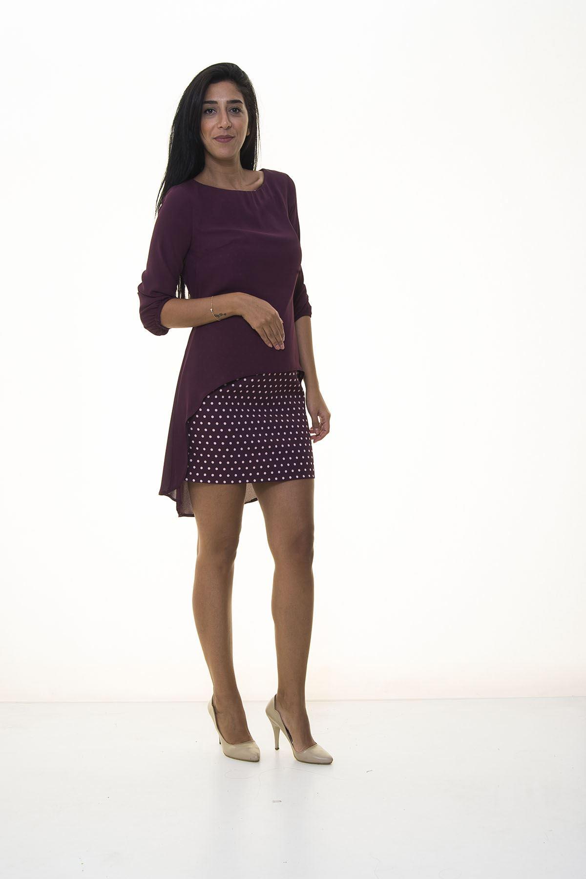Kadın Mürdüm Eteği Puantiyeli Elbise I6-1036