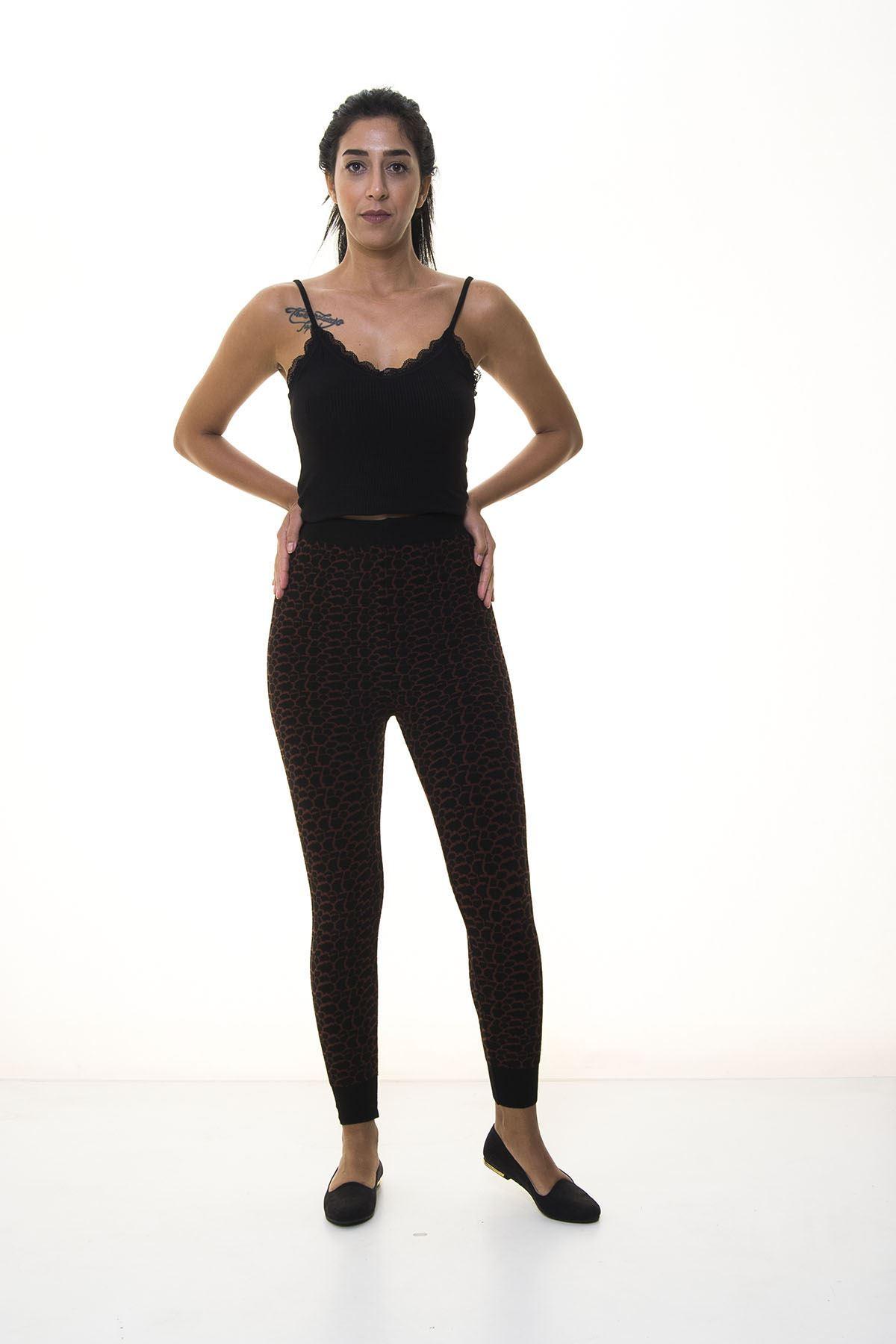 Siyah Bordo Triko Tayt 6C-1041