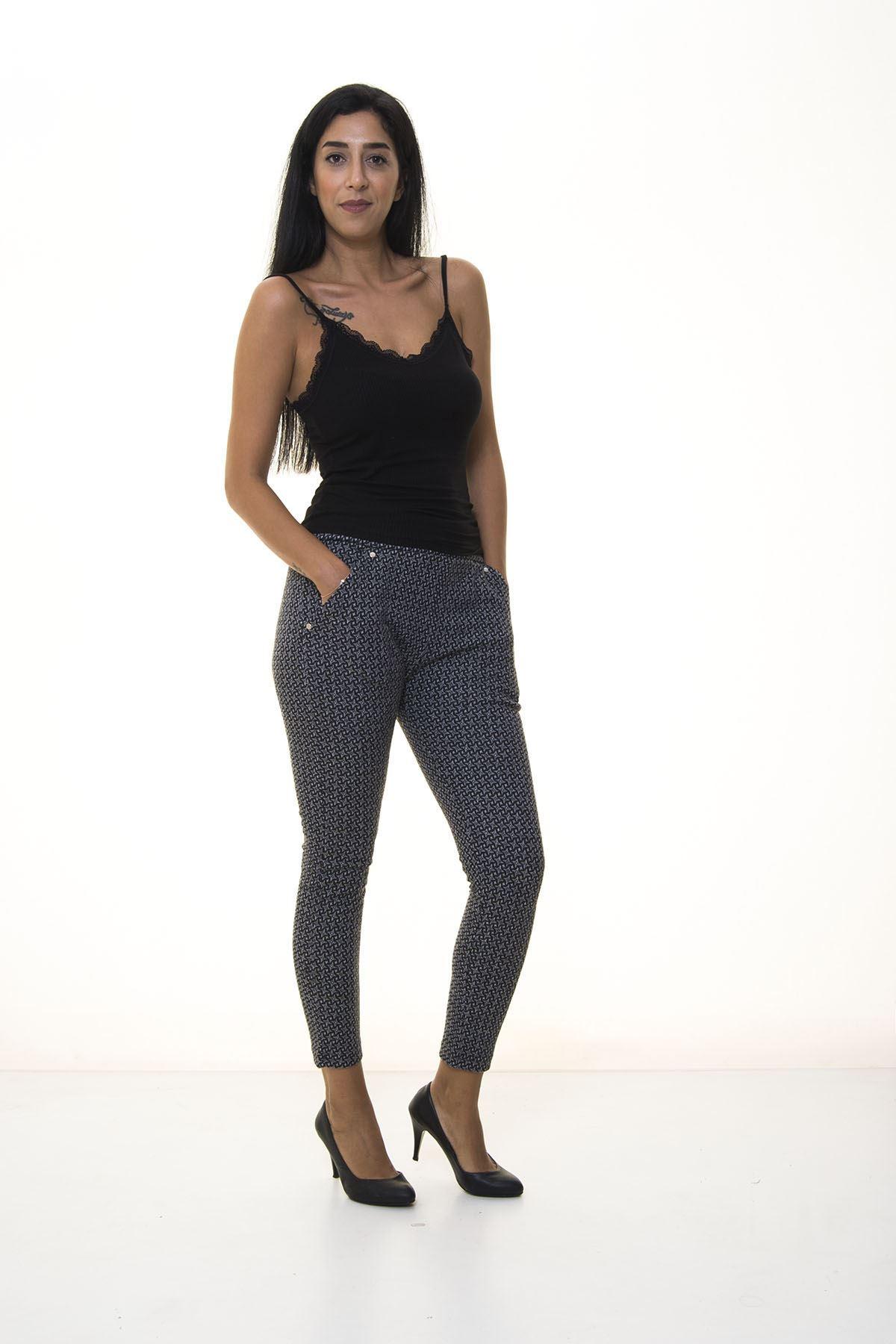 Siyah Gri Desenli Kışlık Pantolon 1E-1077