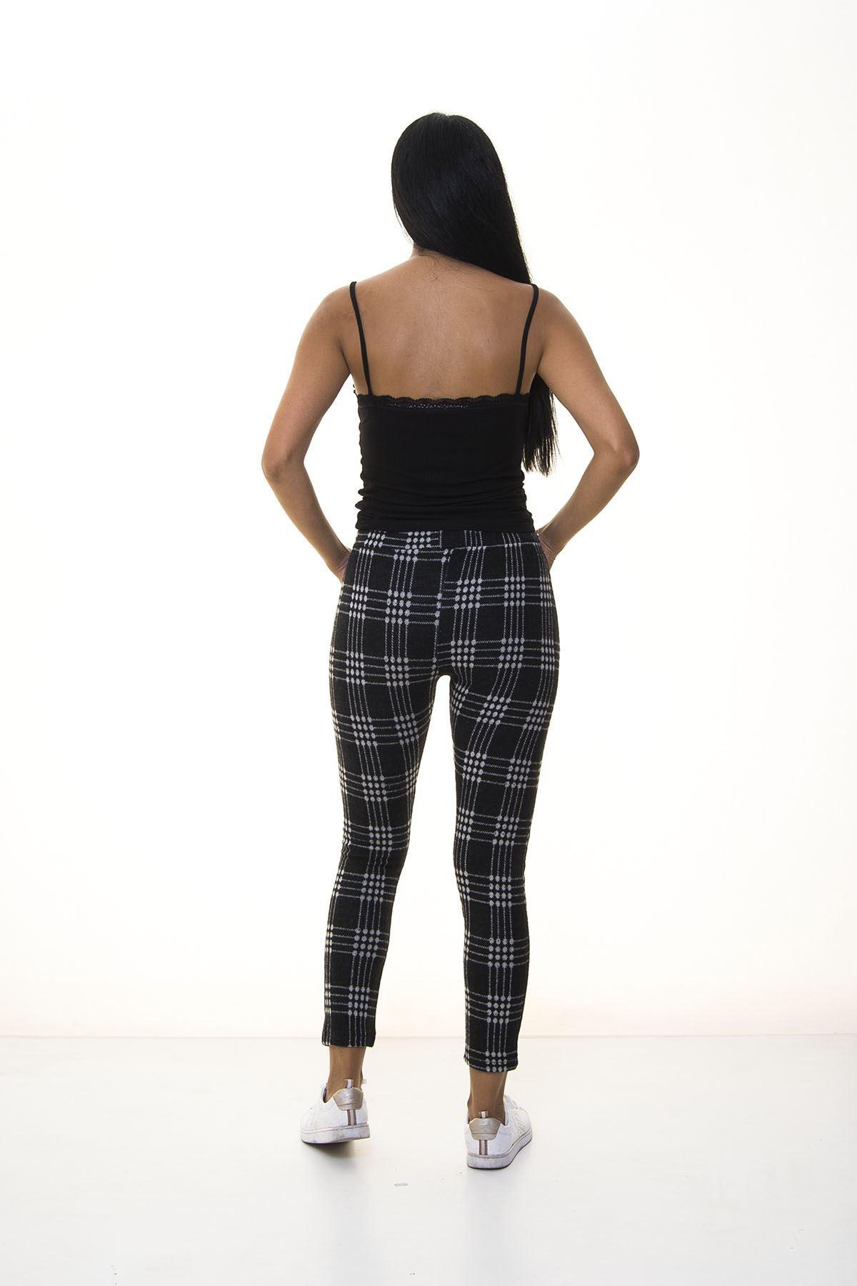 Siyah Beyaz Ekose Desenli Kışlık Pantolon 2E-1071