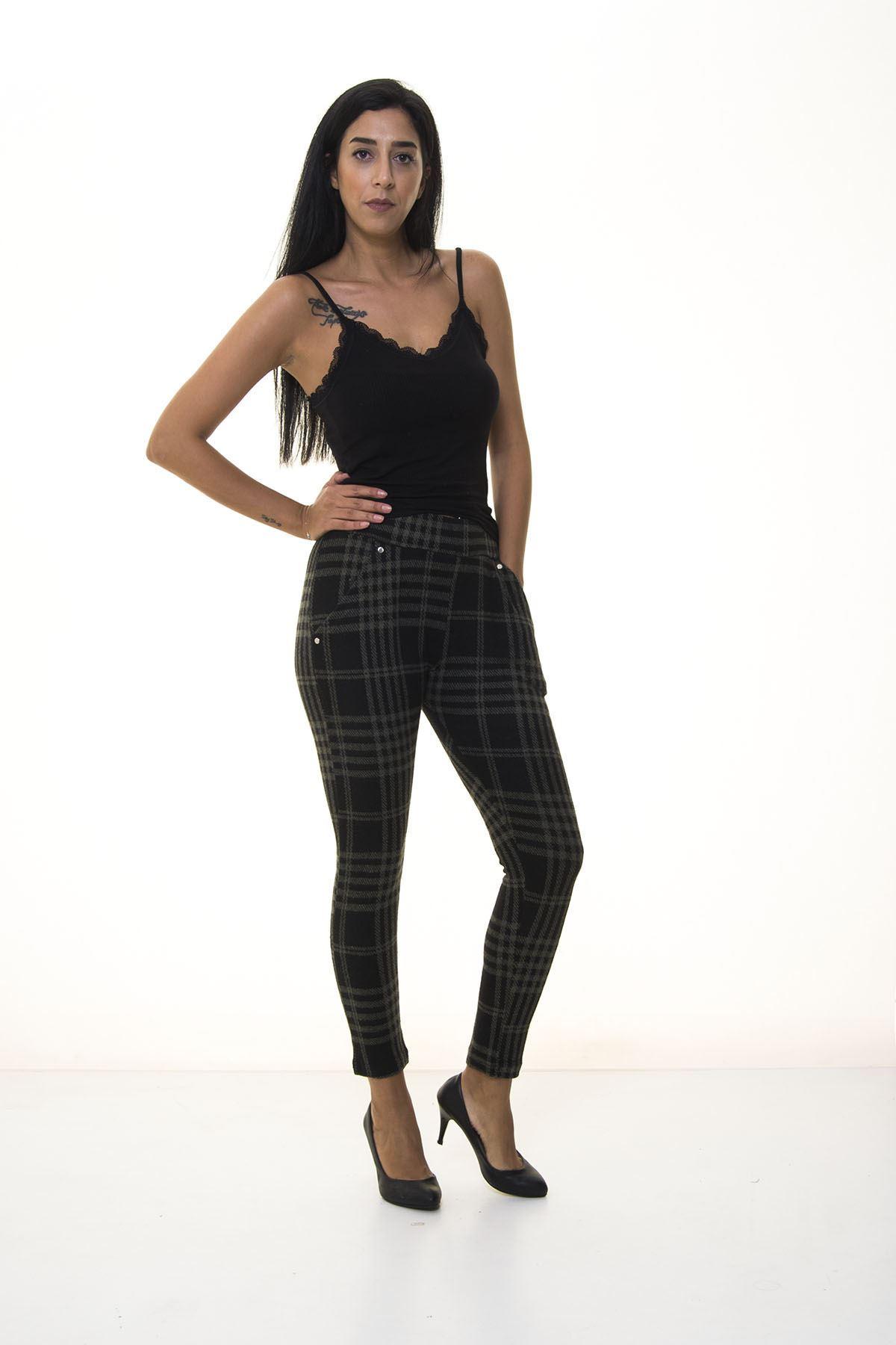 Kadın Siyah Haki Ekose Desenli Kışlık Pantolon 2E-1075