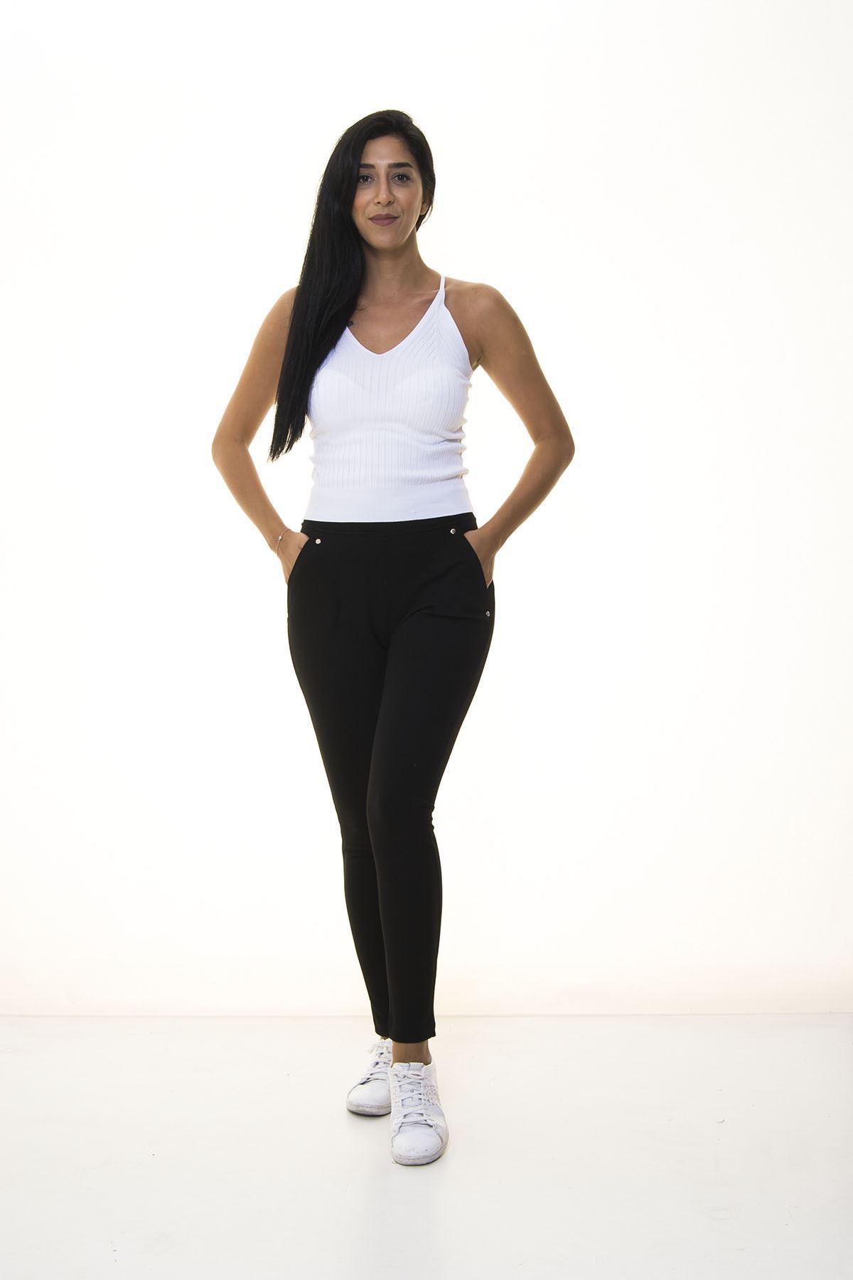 Kadın Düz Siyah Pantolon 1E-1078