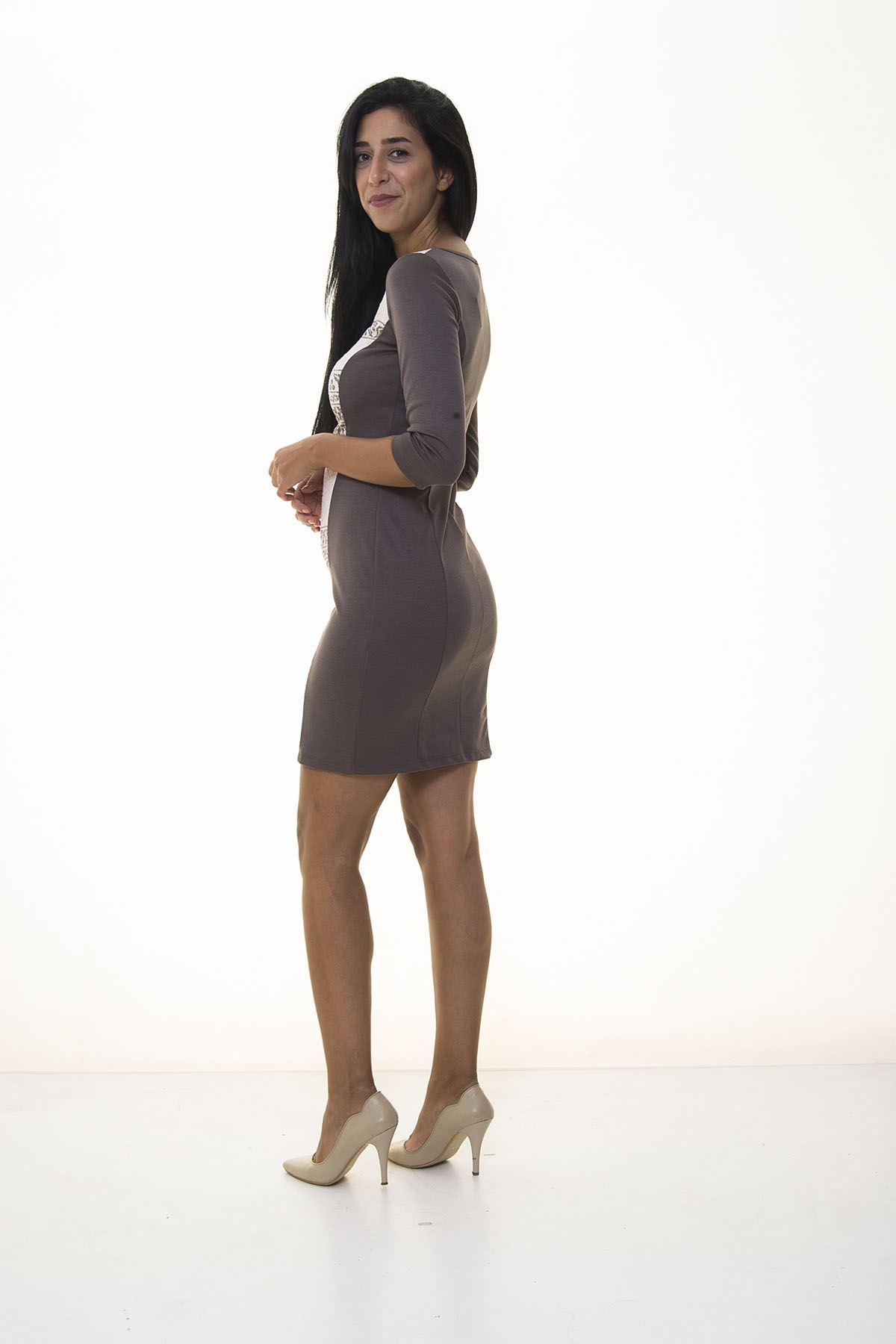 Vizon Rengi Fermuarlı Elbise K10-1091