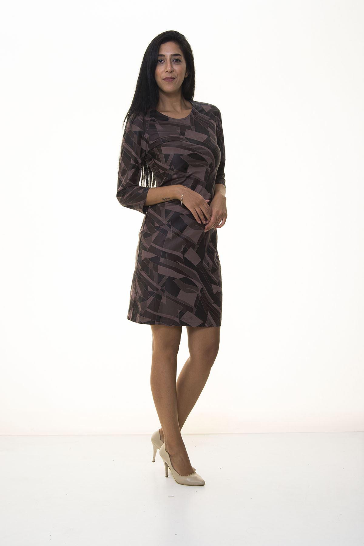 Kadın Kahverengi Kamuflaj Desenli  Elbise K10-1092