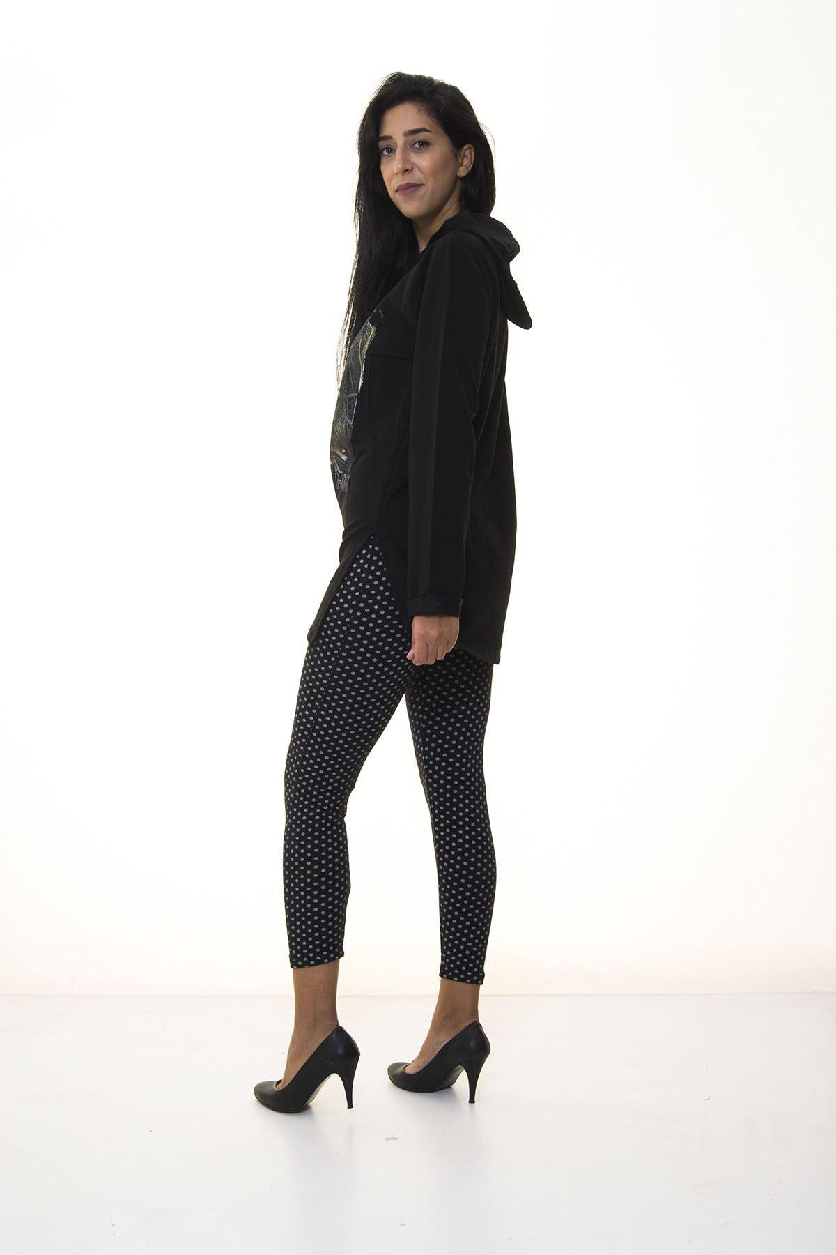 Kadın Siyah Kapşonlu Sweatshirt 2D-1094