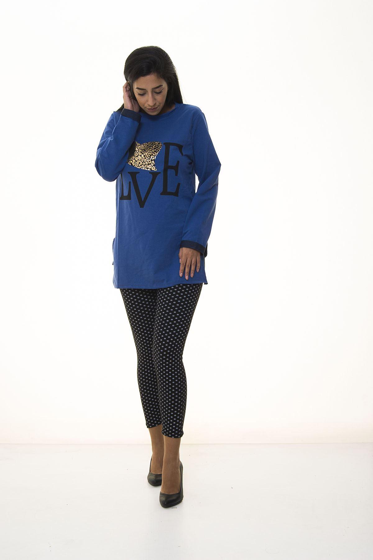 Kadın Mavi Sweatshirt 4D-1090