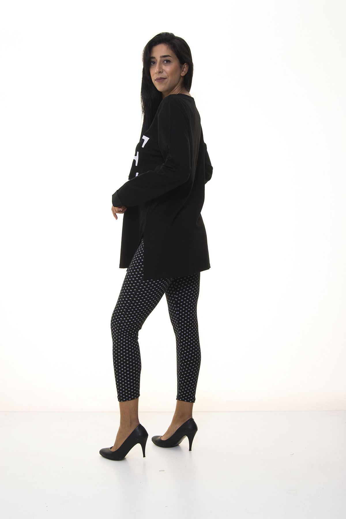 Siyah Kadın Sweatshirt 4D-1088
