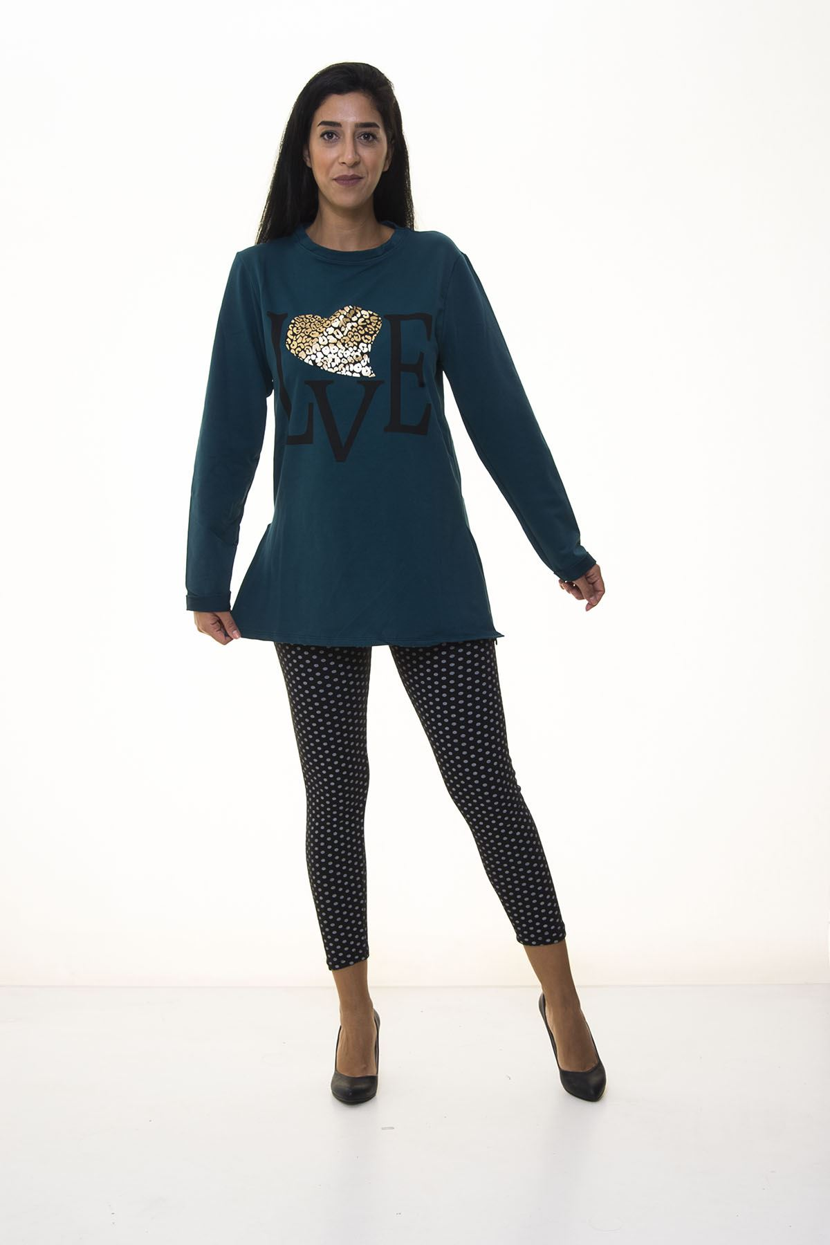 Kadın Yeşil Sweatshirt 4D-1096