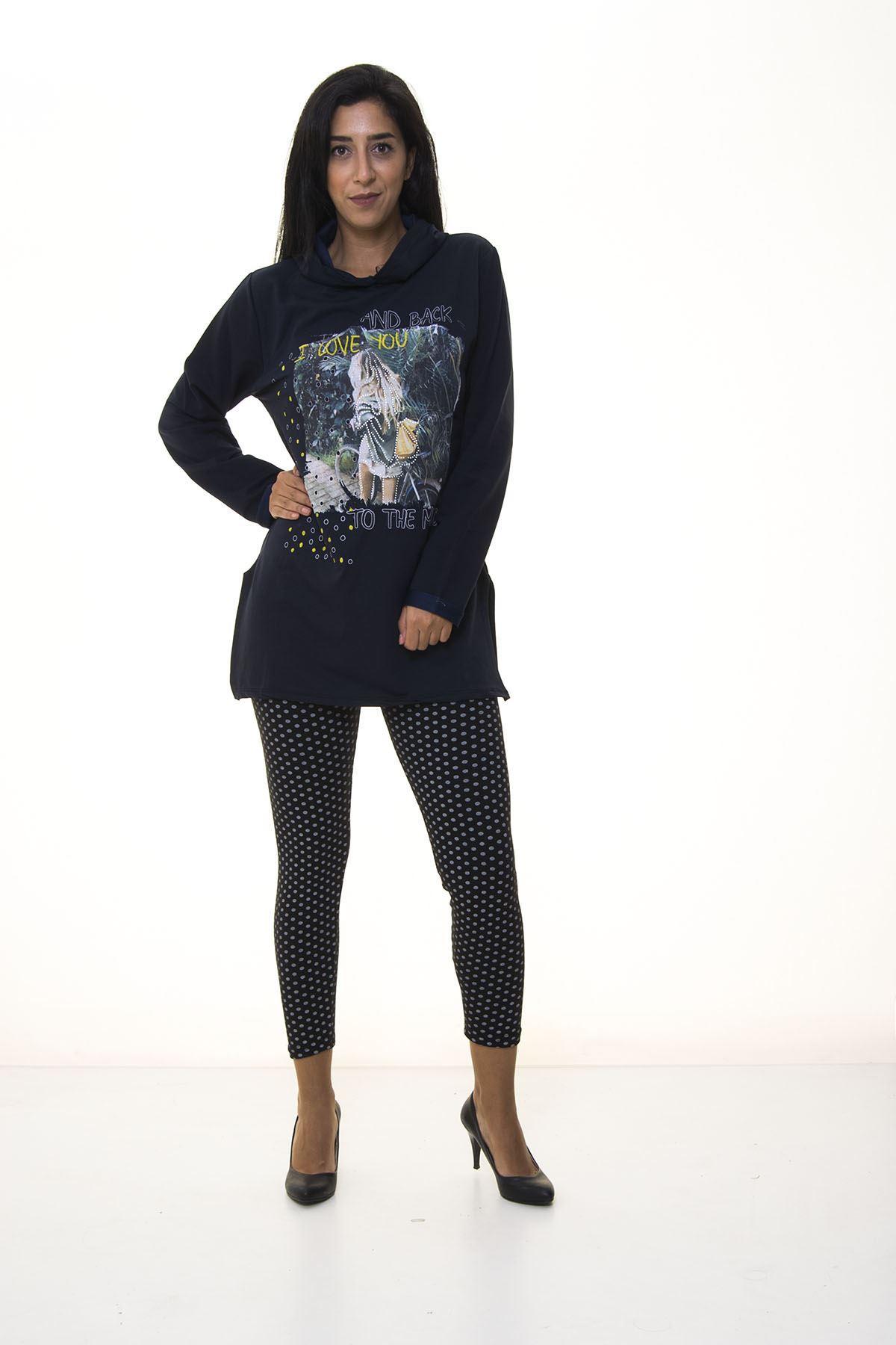 Kadın Lacivert Kapşonlu Sweatshirt 4D-1089