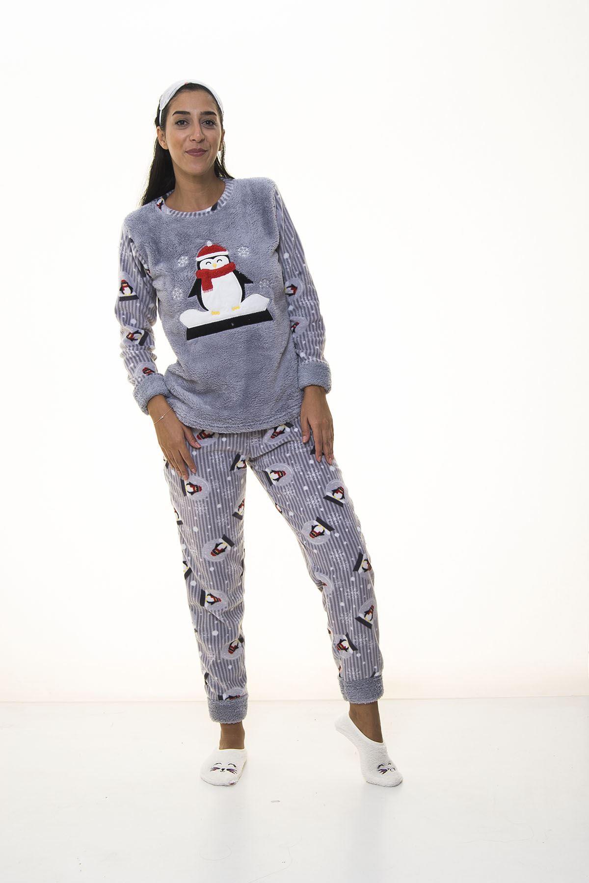 Gri Peluş Polar Pijama 14D-1099