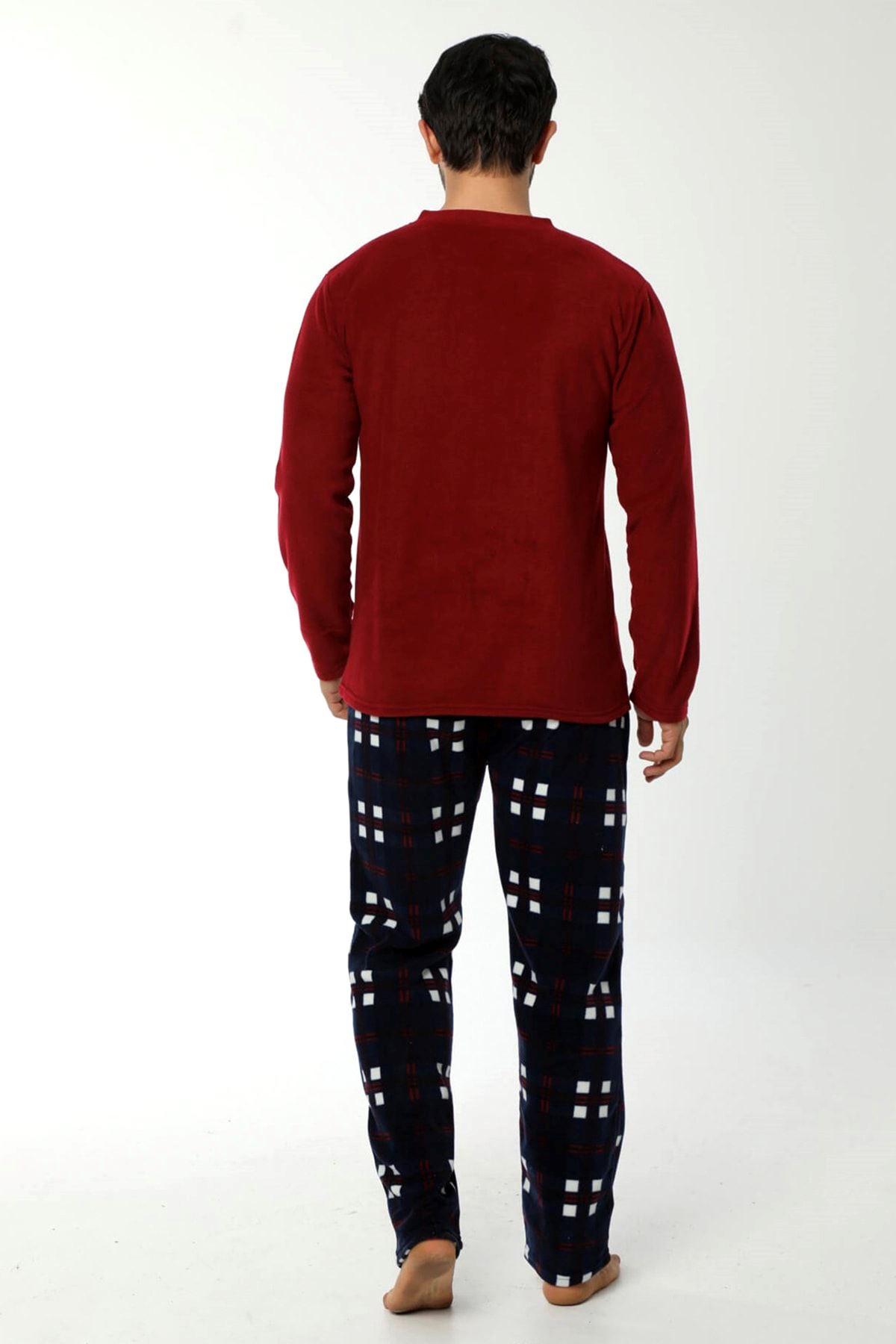 Lacivert Bordo Polar Erkek Pijama 16C-90044