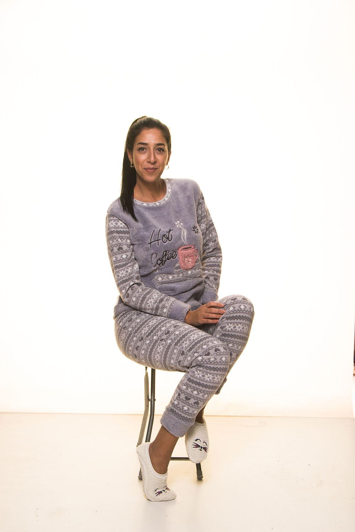 Gri Welsoft Polar Pijama 13D-9105