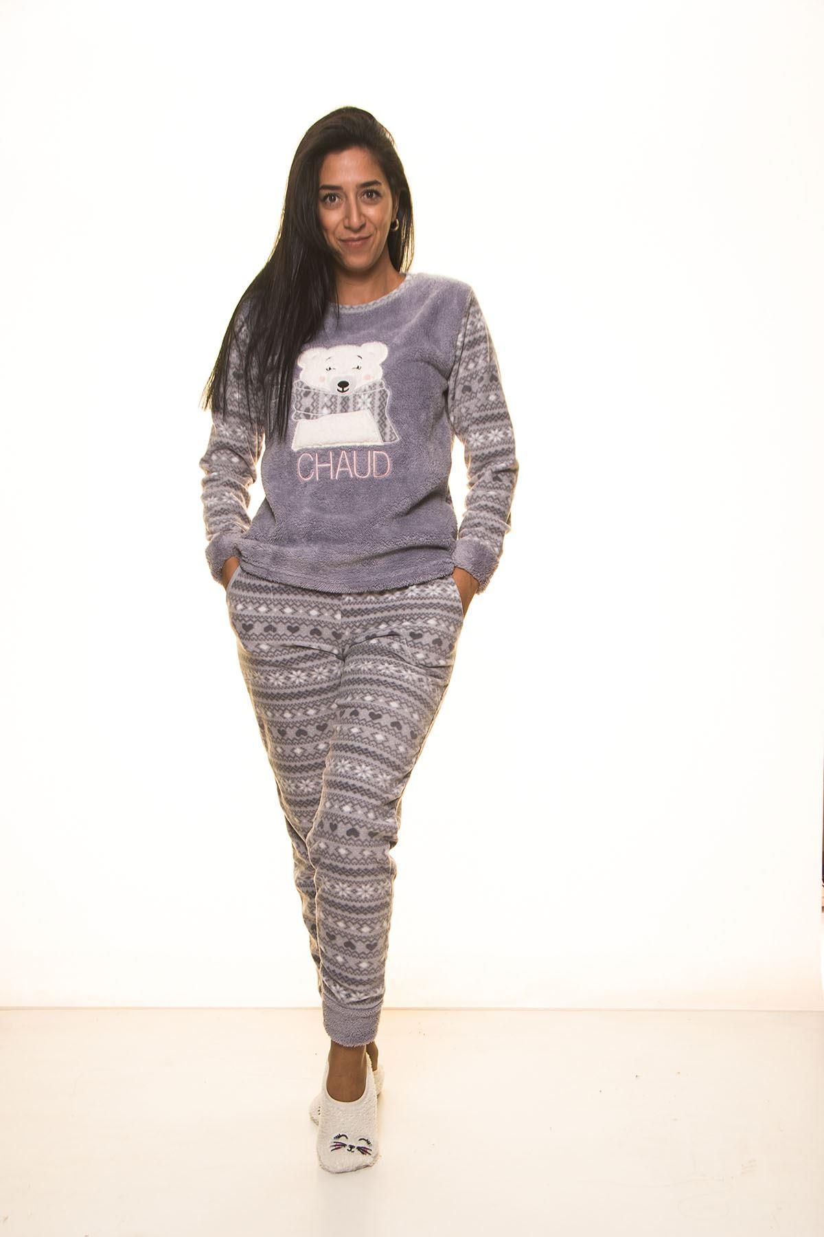 Gri Welsoft Polar Pijama 13D-9103