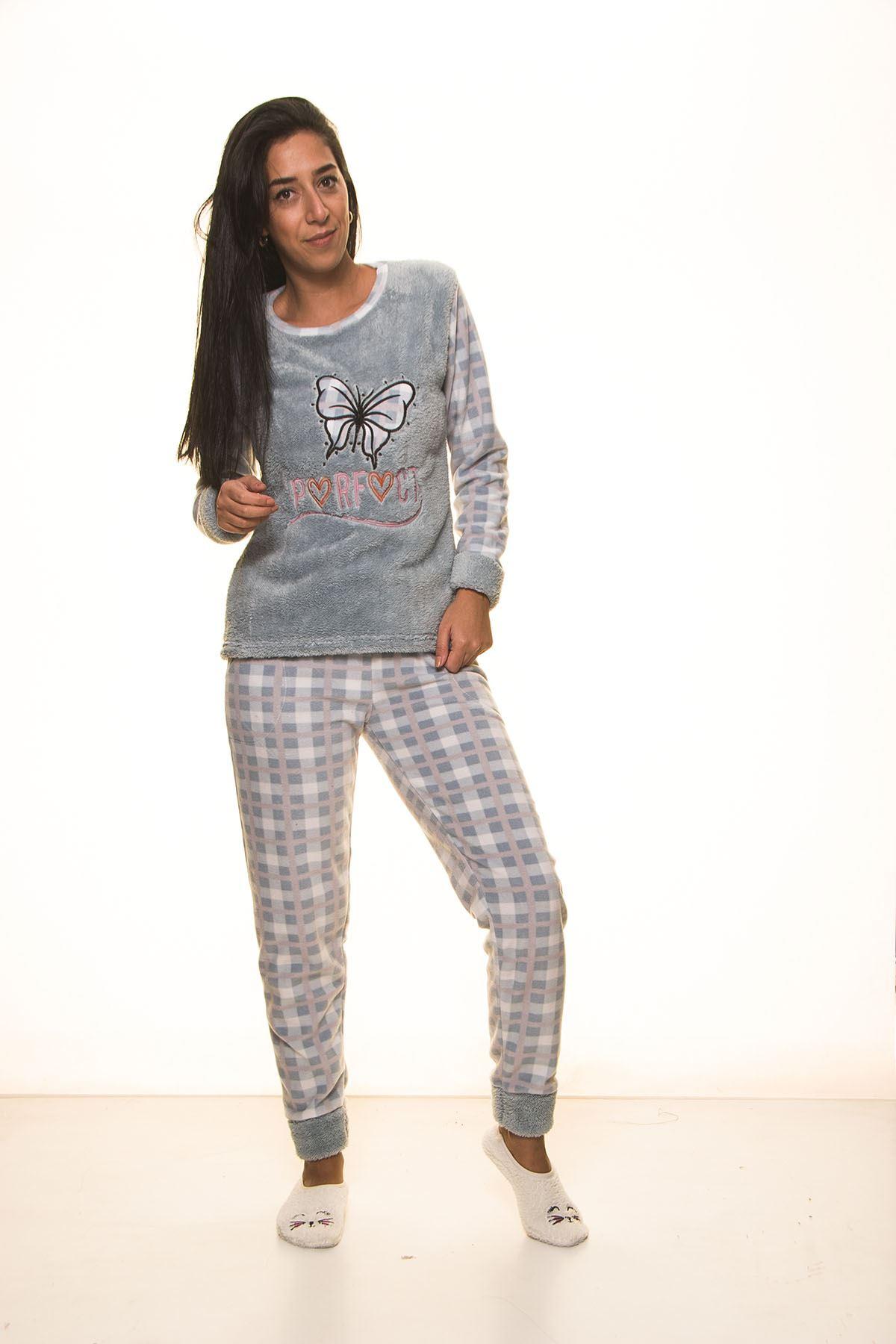 Mint Yeşil Polar Pijama Takımı 13D-9104