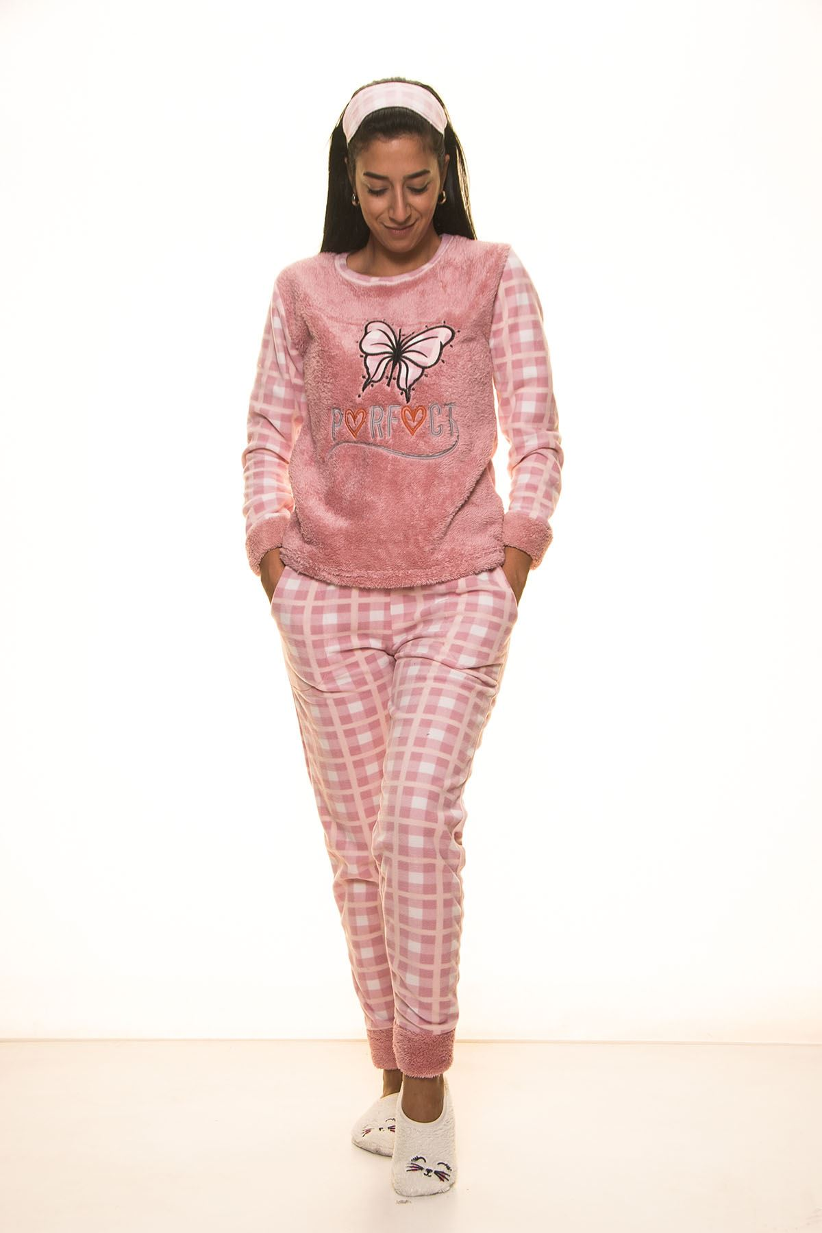 Pembe Polar Pijama Takımı 13D-9104P