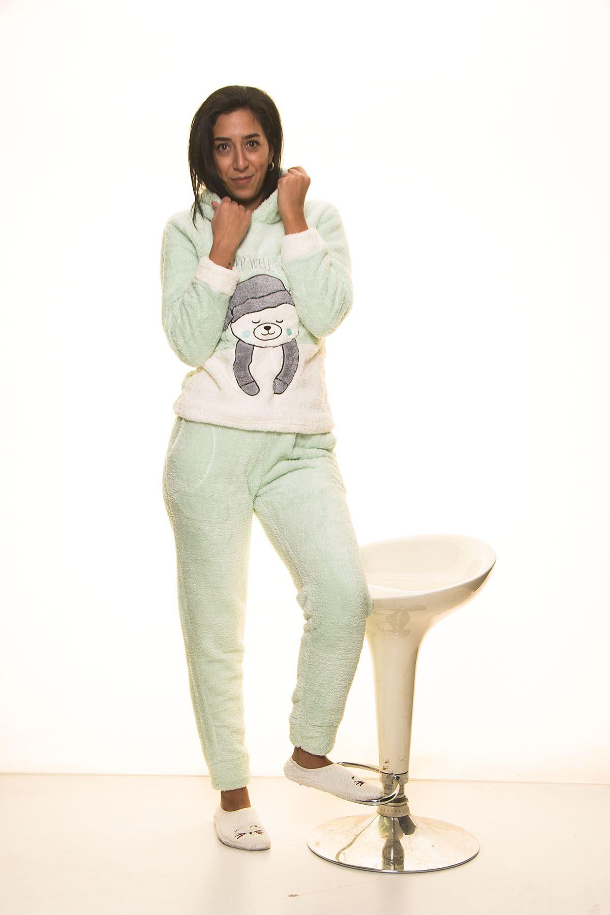 Yeşil Welsoft Polar Pijama Takım 13E-7113