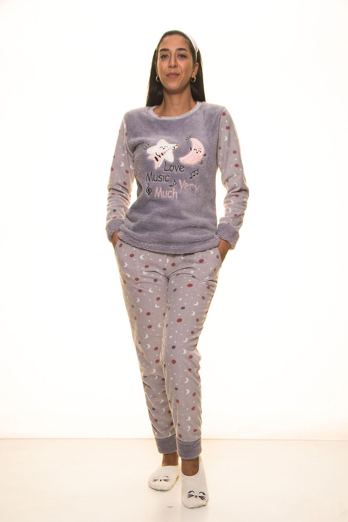 Gri Welsoft Polar Pijama 13D-9100