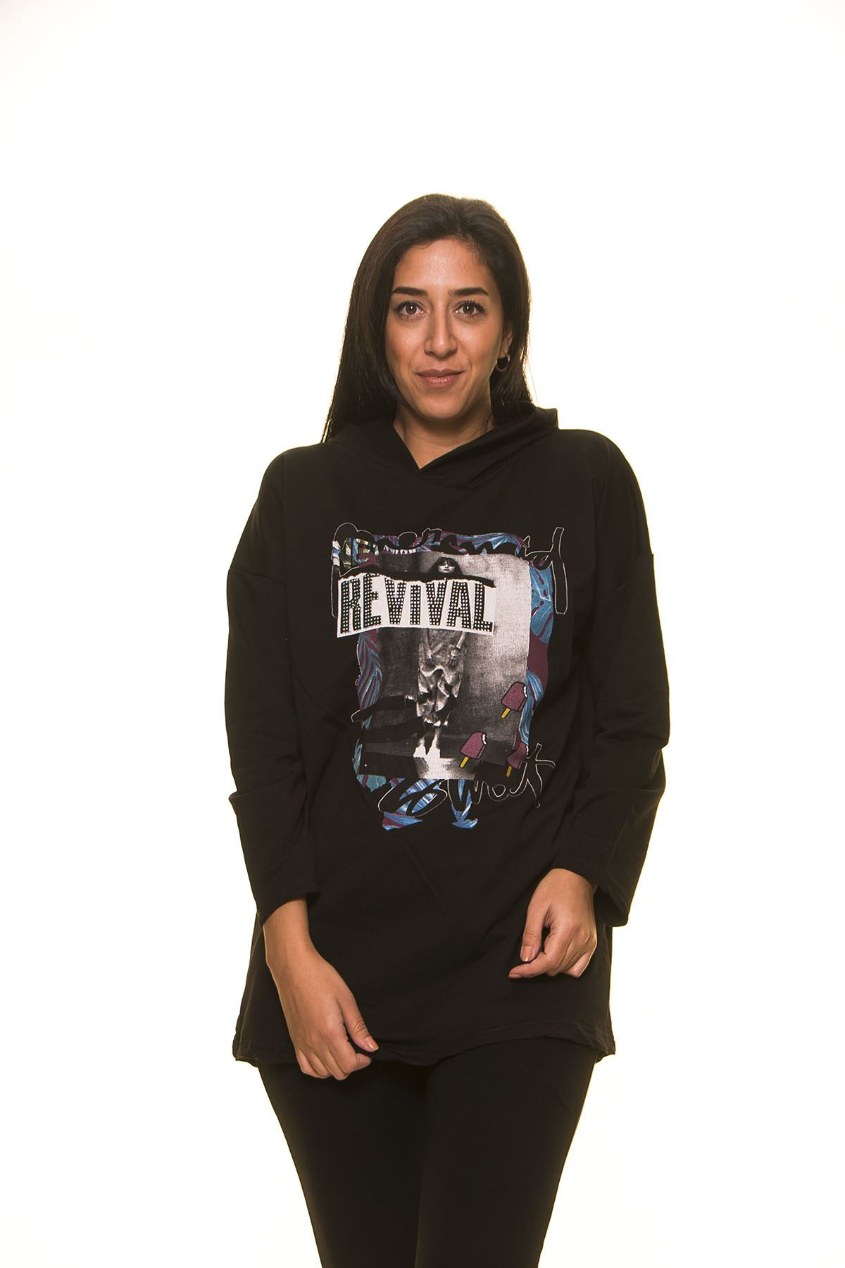 Siyah Kapşonlu Sweat 5F-1121