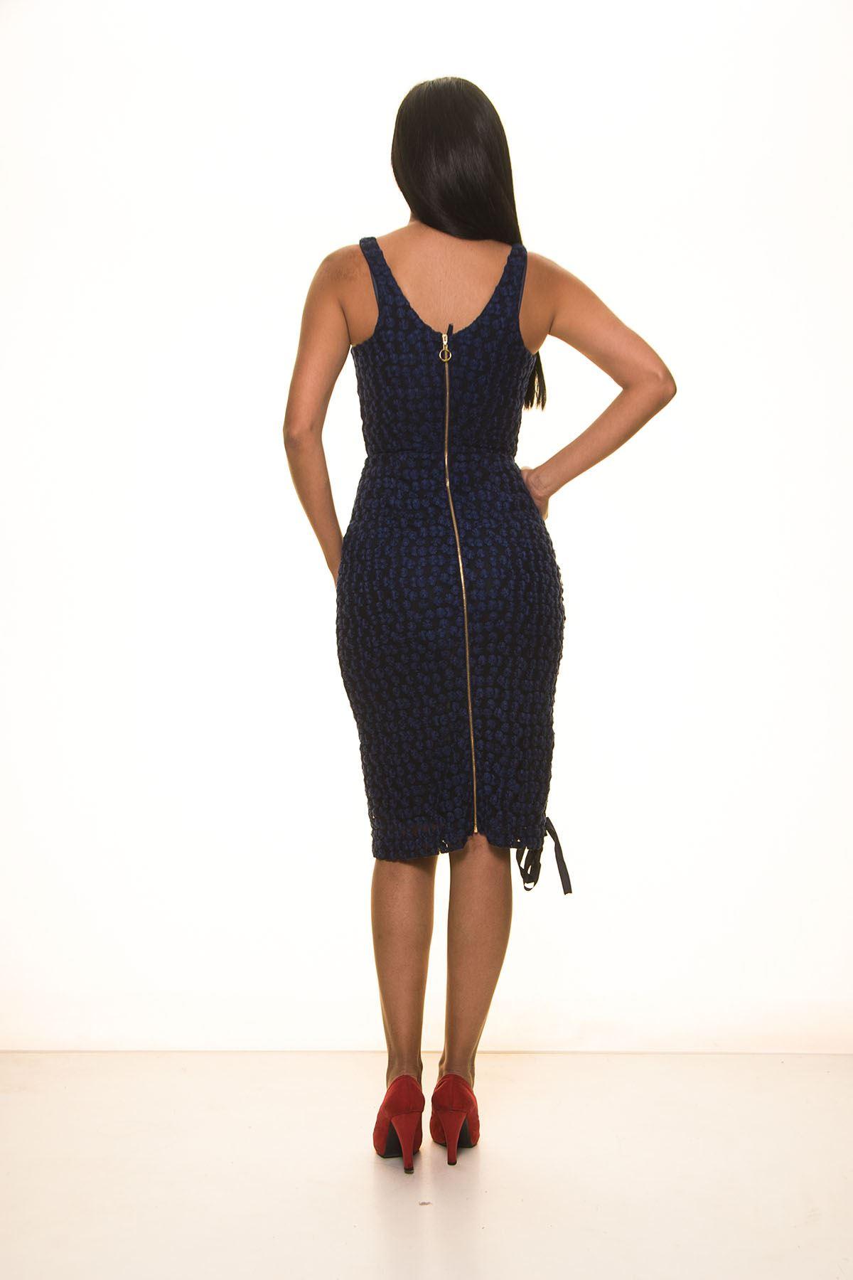 Lacivert Askılı Elbise 4F-1102