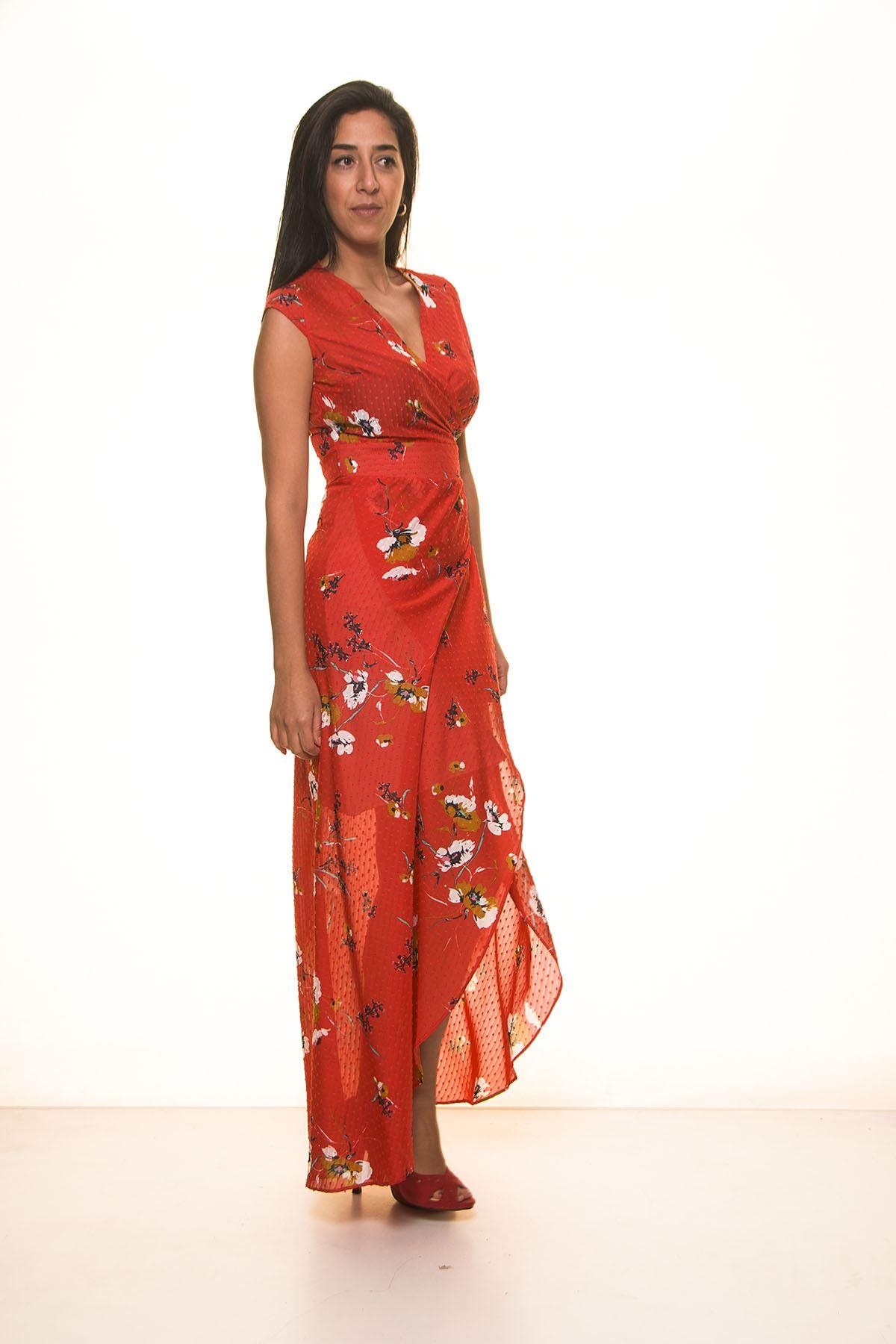 Kırmızı Çiçek Desen Uzun Elbise K7-1099