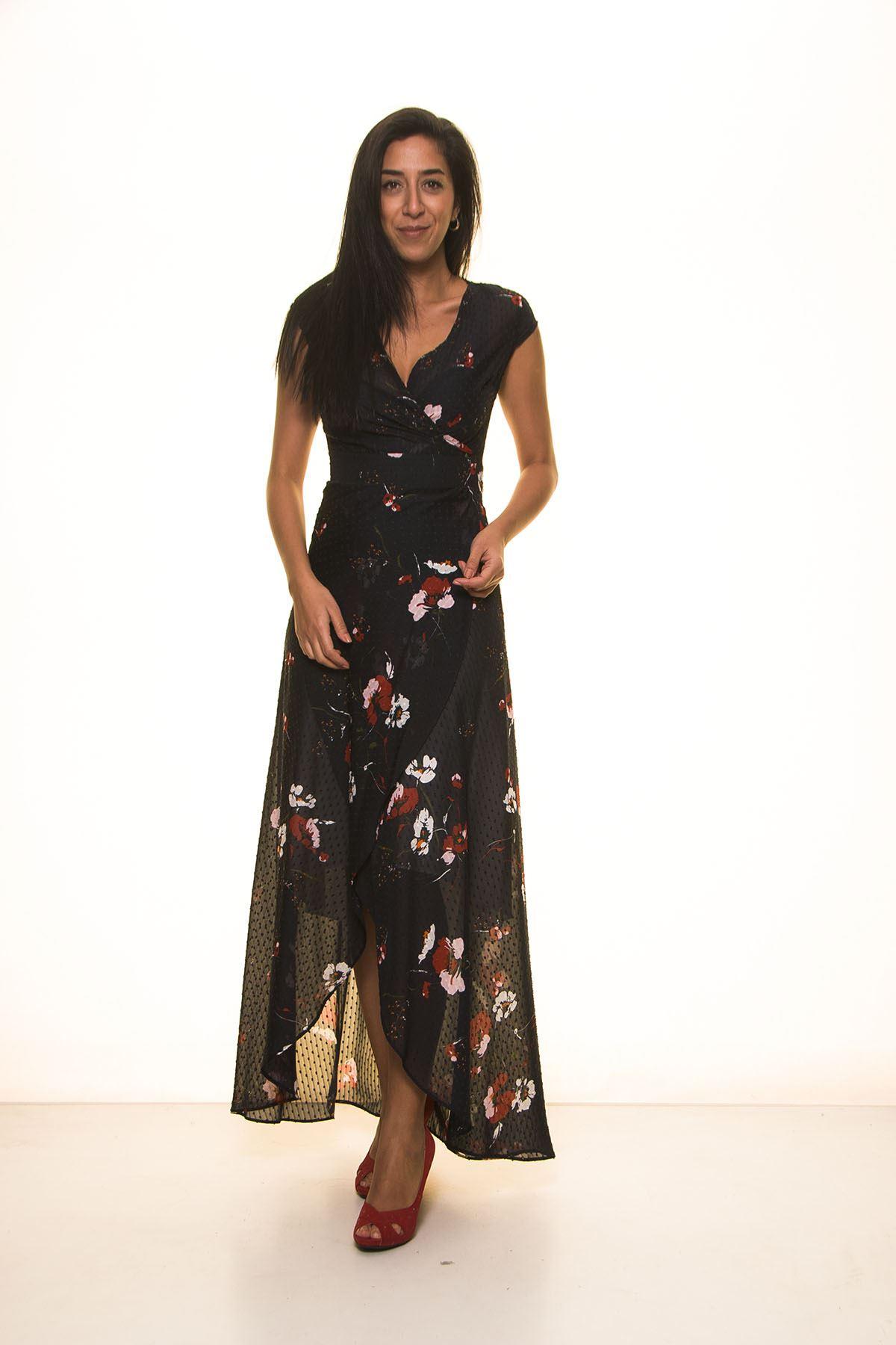 Lacivert Çiçek Desenli Uzun Elbise K7-1100