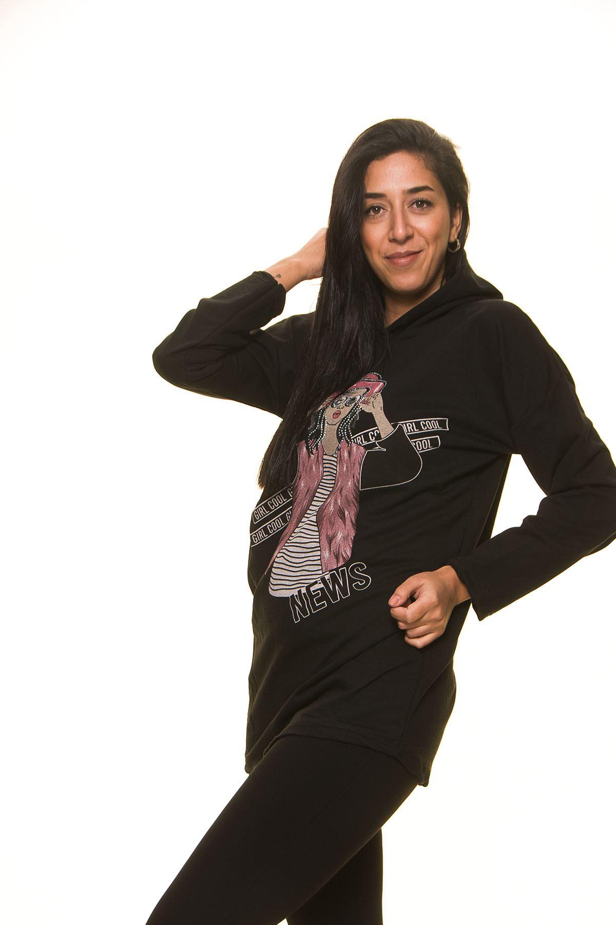 Kadın Siyah Kapşonlu Sweat 5F-1122