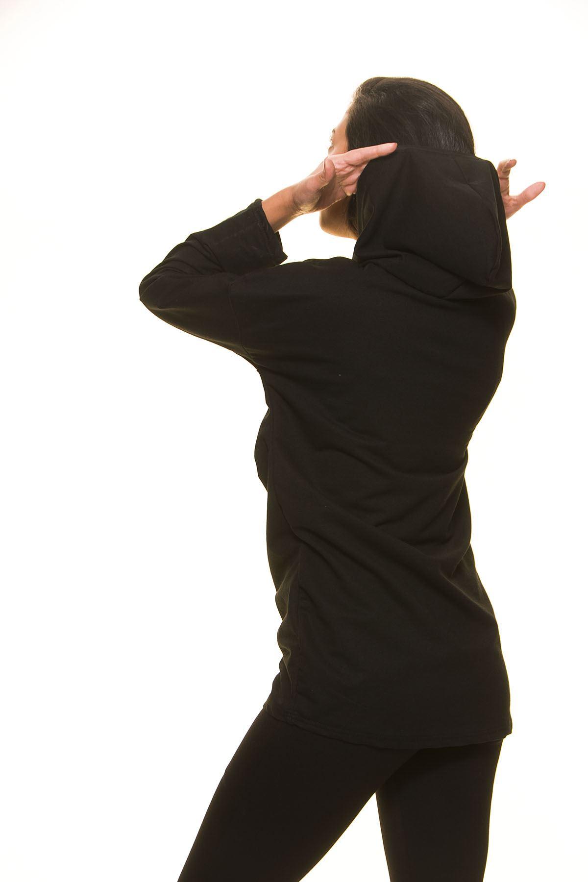 Siyah Kapşonlu Sweat 5F-1125