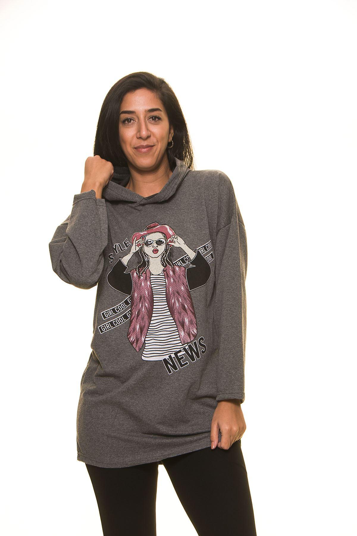 Kadın Baskılı Gri Kapşonlu Sweatshirt 5F-1127